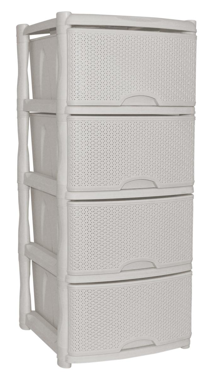Комод BranQ Natural Style, цвет: айвори, 4 секции. BQ3773АЙВTHN132NКомод BranQ Natural Style изготовлен из высококачественного пластика. Ящики оформлены уникальным дизайном под ротанг. Комод предназначен для хранения различных вещей и состоит из четырех вместительных выдвижных секций. Такой оригинальный комод надежно защитит вещи от загрязнений, пыли и моли, а также позволит вам хранить их компактно и с удобством. Стильный дизайн комода дополнит интерьер комнаты.