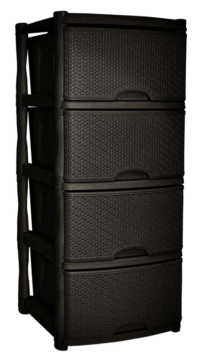 Комод BranQ Natural Style, цвет: венге, 4 секции. BQ3773ВНГ54 009303Комод BranQ Natural Style изготовлен из высококачественного пластика. Ящики оформлены уникальным дизайном под ротанг. Комод предназначен для хранения различных вещей и состоит из четырех вместительных выдвижных секций. Такой оригинальный комод надежно защитит вещи от загрязнений, пыли и моли, а также позволит вам хранить их компактно и с удобством. Стильный дизайн комода дополнит интерьер комнаты.