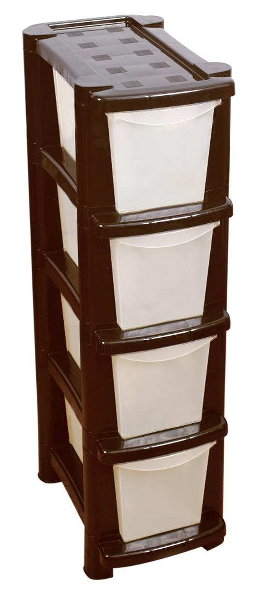 Комод универсальный BranQ Deco, цвет: бежевый, 410 х 245 х 863 мм, 4 секцииTHN132NКомод BranQ Deco изготовлен из высококачественного пластика. Комод предназначен для хранения различных вещей и состоит из четырех вместительных выдвижных секций. Такой комод надежно защитит вещи от загрязнений, пыли и моли, а также позволит вам хранить их компактно и с удобством. Стильный дизайн комода дополнит интерьер комнаты.