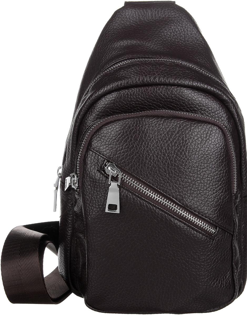 Сумка мужская Orsa Oro, цвет: темно-коричневый. D-233/55A-B86-05-CМужская сумка Orsa Oro выполнена из экокожи темно-коричневого цвета. Сумка имеет одно основное отделение, закрывающееся на застежку-молнию. Внутри - один накладной карман для телефона и мелких принадлежностей. На лицевой стороне сумки расположены два вшитых карман на застежке-молнии. Для удобства предусмотрена актуальная ручка-лента регулируемой длины, что позволяет носить изделие как в руках, так и на плече. Такая сумка подчеркнет вашу яркую индивидуальность и оригинально дополнит ваш образ.