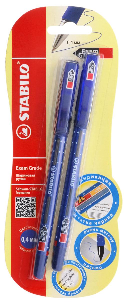 Stabilo Набор шариковых ручек Exam Grade цвет чернил синий 2 штC13S400035STABILO Exam Grade 588. Специальное окошко на корпусе отображает количество страниц, которое можно написать ручкой, пока не закончатся чернила. Особый состав чернил позволяет писать на всех видах бумаги, даже очень тонкой, исключая проступание чернил на другой стороне бумаги. Чернила с пониженной вязкостью обеспечивают более приятное, мягкое и быстрое письмо. Эргономичная грипп-зона предотвращает скольжение пальцев при письме и снимает напряжение и усталость руки. Специальный фиксатор предотвращает скатывание ручки со стола. Толщина линии 0,4 мм.