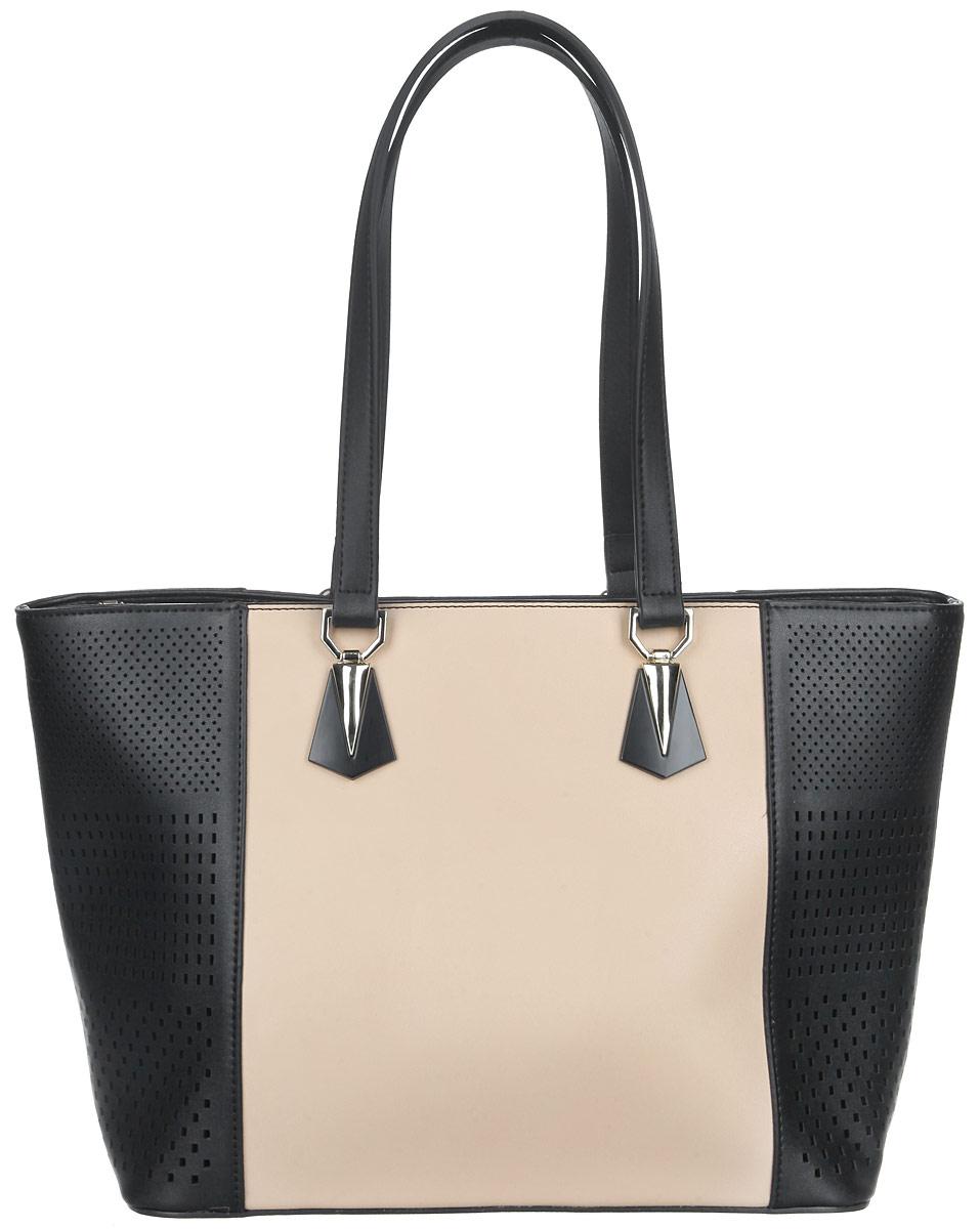 Сумка женская Orsa Oro, цвет: черный, бежевый. D-225/482582-1белыеИзысканная женская сумка Orsa Oro выполнена из экокожи с перфорацией. Сумка закрывается на замок-молнию. Удобные ручки крепятся к корпусу сумки на металлическую фурнитуру золотистого цвета. Вместительное внутреннее отделение содержит два накладных кармана для телефона и мелких принадлежностей и врезной карман на молнии.Практичная и стильная сумка прекрасно завершит ваш образ.
