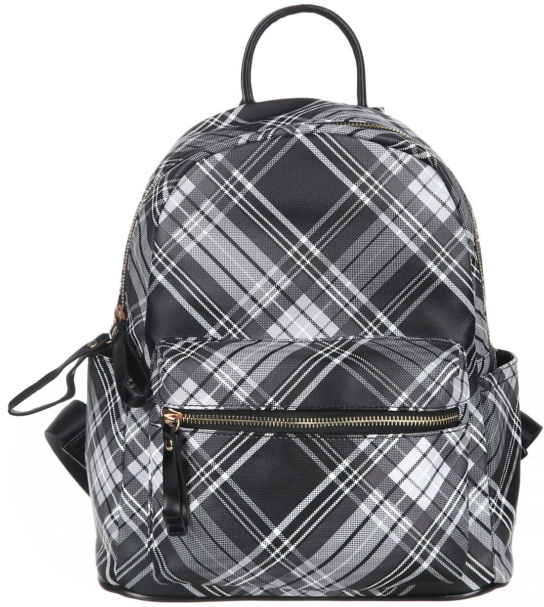 Рюкзак женский Orsa Oro, цвет: черный, белый, серый. D-235/45RivaCase 8460 blackСтильный женский рюкзак Orsa Oro выполнен из экокожи. Рюкзак имеет одно основное отделение, которое закрывается на замок-молнию. Внутри два накладных кармана для телефона и мелких принадлежностей, а также врезной карман на молнии. Снаружи на передней части рюкзака размещен объемный накладной карман на молнии. По бокам расположены небольшие открытые накладные кармашки. Снаружи, на спинке рюкзака размещен врезной карман на молнии. Рюкзак оснащен двумя мягкими, регулируемыми по длине лямками, с помощью которых его можно носить как на плече, так и на спине и петлей для подвешивания. Фурнитура - золотистого цвета. Стильный рюкзак станет финальным штрихом в создании вашего неповторимого образа.