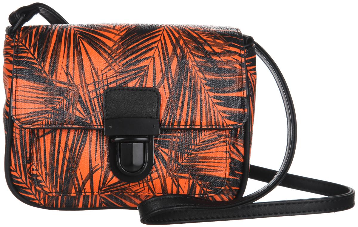 Сумка женская Calipso, цвет: оранжевый, черный. 055-131286-2888-2Оригинальная женская сумка Calipso выполнена из искусственной кожи и оформлена красочным контрастным принтом в виде пальмовых листьев. Сумка закрывается на клапан с замком-защелкой и имеет одно отделение и накладной открытый карман. Внутри отделения располагается прорезной карман на застежке-молнии.Сумка оснащена наплечным ремнем, длина которого регулируется.Сумка - это стильный аксессуар, который подчеркнет вашу изысканность и индивидуальность и сделает ваш образ завершенным. С такой сумочкой вы не останетесь незамеченной.
