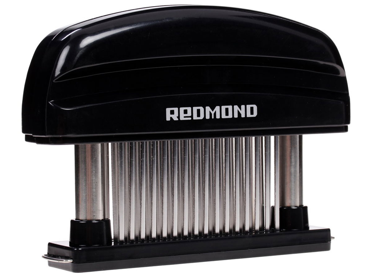 Redmond RAM-MT1 размягчитель мясаRAM-MT1Размягчитель мяса Redmond RAM-MT1 - инновационная замена молотку для отбивания. Он отлично подходит для предварительной подготовки всех видов красного мяса и стейков. Размягчитель сохраняет аппетитный вид и вкусовые качества мяса. 48 лезвий из нержавеющей стали разъединяют ткани, не нарушая структуры продукта, при этом делают его мягким и сочным. Защитный кожух обеспечит безопасность хранения, а благодаря съемному основанию изделие удобно мыть.Количество зубцов: 48Съемное основание