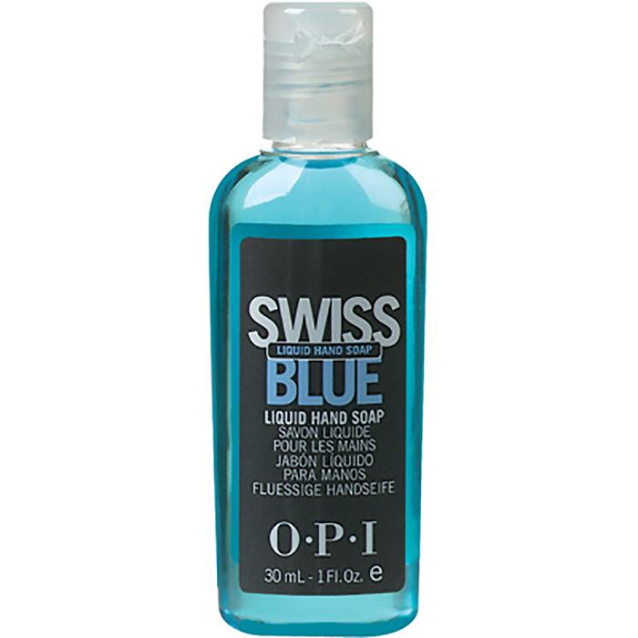 OPI Мыло для рук Swiss Blue, 30 мл28032022Жидкое мыло для рук Свис Блю OPI. Голубое жидкое мыло для мытья и защиты рук мастера и клиента быстро и мягко очищает руки и создано специально для салонного использования. После каждого использования оставляет на руках невидимый защитный полимерный барьер 8-часового действия, оберегающий руки от воздействия химических препаратов при процедурах маникюра и педикюра. Содержит силикон, не дает эффекта скольжения.