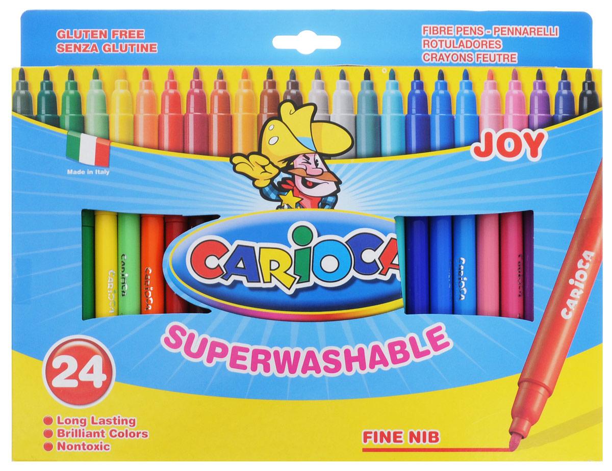 Carioca Набор фломастеров Joy 24 цвета72523WDНабор фломастеров Carioca Joy, предназначенные для художественно-оформительских работ, обязательно порадуют вашего юного художника и помогут создать ему неповторимые и яркие картинки.Набор включает в себя 24 фломастера ярких насыщенных цветов. Специальные чернила на водной основе легко смываются с кожи и удаляются с большинства тканей. Корпус фломастеров изготовлен из пластика, а колпачок имеет специальные прорези, что еще больше увеличивает срок службы чернил и предотвращает их преждевременное высыхание.