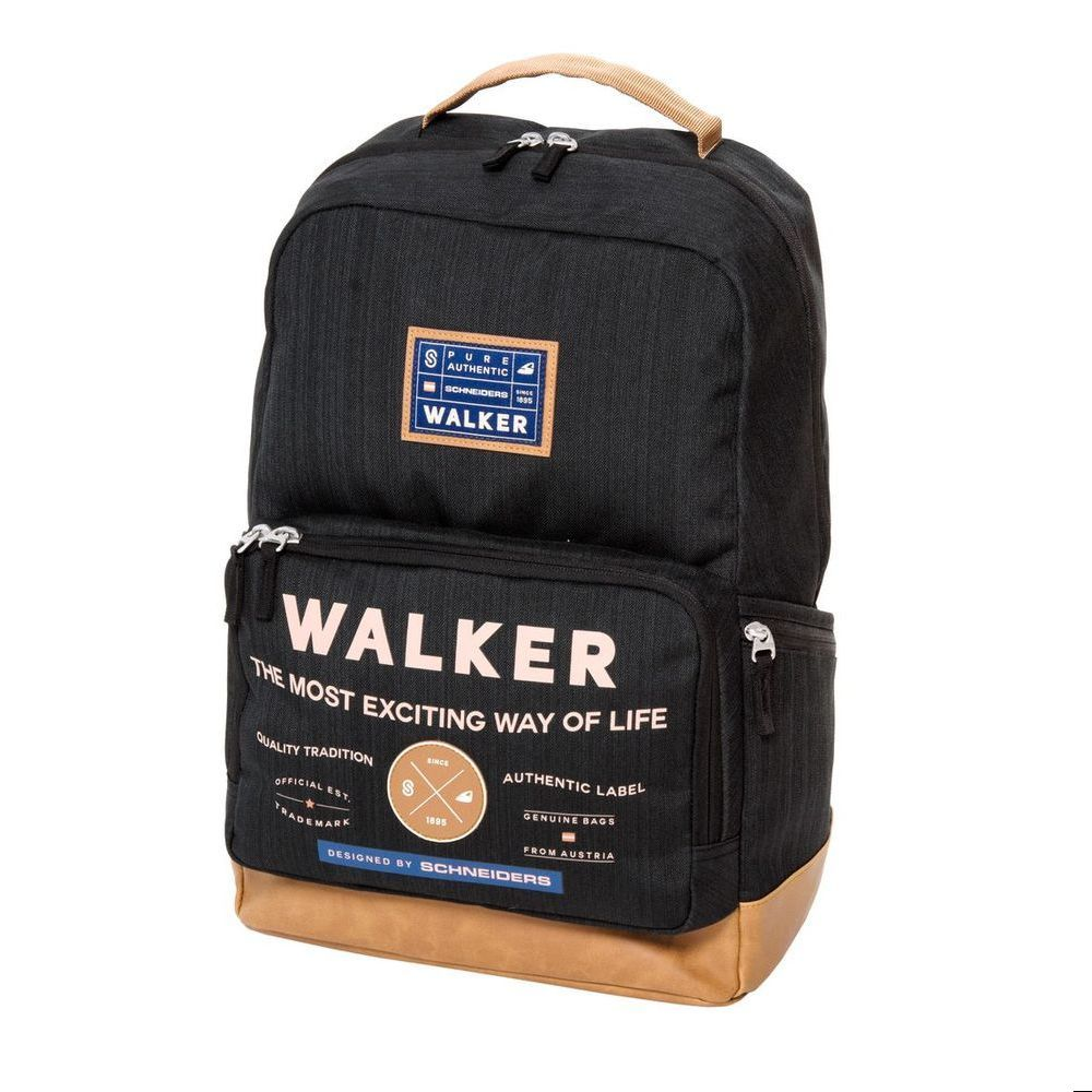 Walker Рюкзак Pure Authentic цвет черный78416/70Рюкзак Walker Pure Authentic - это современный многофункциональный молодежный рюкзак, который выполнен из прочного износостойкого материала высокого качества.Рюкзак имеет одно основное отделение, закрывающееся на молнию с двумя бегунками. Внутри отделения находятся два открытых сетчатых кармана, мягкий карман с хлястиком на липучке для различных гаджетов и пришивной карман на липучке. Рюкзак оснащен тремя боковыми карманами - два открытых кармана и один на застежке-молнии. На лицевой стороне рюкзака расположен накладной карман на молнии, внутри которого имеется органайзер для канцелярских принадлежностей и прорезной карман на молнии. Рюкзак оснащен удобной текстильной ручкой для переноски в руке. Мягкие широкие лямки анатомической формы позволяют легко и быстро отрегулировать рюкзак в соответствии с ростом. Изделие дополнено светоотражающими элементами.Этот рюкзак разработан специально для людей стильных и модных, любящих быть в центре внимания.