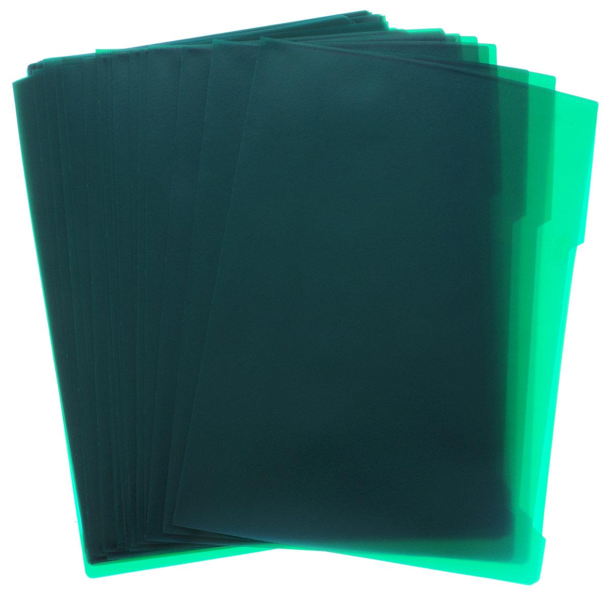 Durable Папка-уголок цвет зеленый 50 шт38209Папка-уголок Durable изготовлена из высококачественного полипропилена. Это удобный и практичный офисный инструмент, предназначенный для хранения и транспортировки рабочих бумаг и документов формата А4. Папка оснащена выемкой для перелистывания листов. В наборе - 50 папок зеленого цвета.Папка-уголок - это незаменимый атрибут для студента, школьника, офисного работника. Такая папка надежно сохранит ваши документы и сбережет их от повреждений, пыли и влаги.
