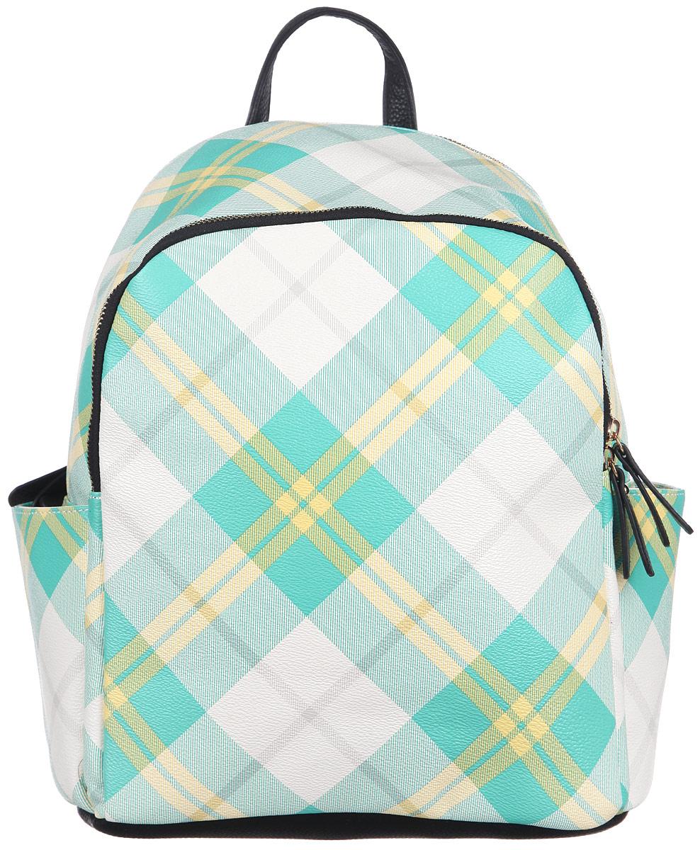 Рюкзак женский Orsa Oro, цвет: бежевый, желтый, бирюзовый. D-242/6S76245Стильный женский рюкзак Orsa Oro с оригинальным цветным принтом выполнен из экокожи. Рюкзак имеет одно основное отделение, которое закрывается на замок-молнию. Внутри два накладных кармана для телефона и мелких принадлежностей, а также врезной карман на молнии. Снаружи, на передней части рюкзака, размещен глубокий накладной карман на молнии. По бокам, расположены небольшие открытые накладные кармашки. Снаружи, на спинке рюкзака, размещен врезной карман на молнии. Рюкзак оснащен двумя, регулируемыми по длине лямками, с помощью которых его можно носить как на плече, так и на спине и петлей для подвешивания. Фурнитура - золотистого цвета. Стильный рюкзак станет финальным штрихом в создании вашего неповторимого образа.