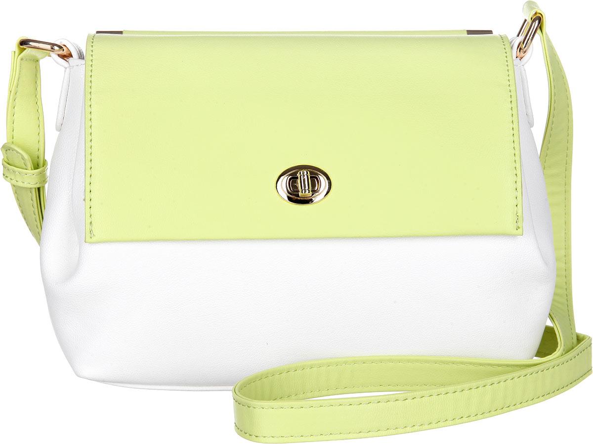 Сумка женская Calipso, цвет: желтый, белый. 462-141286-23123008Изысканная женская сумка Calipso выполнена из искусственной кожи. Сумка закрывается клапаном на замок-вертушку. Модель оснащена удобным регулируемым плечевым ремнем. Внутри одно отделение содержит врезной карман на замке-молнии и накладной кармашек для телефона и мелких принадлежностей и ремешок для ключей.Снаружи на задней стенке сумки размещен вшитый карман на молнии. Изделие декорировано металлической фурнитурой золотистого цвета.Практичная и стильная сумка прекрасно завершит ваш образ.