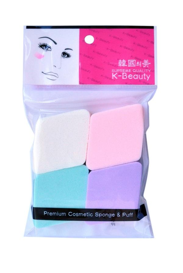 K-Beauty Спонж косметический Ромб 4 шт5010777139655Косметический спонж предназначен для нанесения тональных средств (корректора, тонального крема, румян, пудры и т.д.), а также коррекции макияжа. Спонж позволяет равномерно распределить не только сухие, но и кремовые текстуры, а его удобная форма в виде ромба подходит для обработки таких труднодоступных зон, как область вокруг глаз и носогубные складки.В упаковке 4 спонжа в виде ромбов разных цветов.Мягкий и нежный спонж не травмирует, подходит даже для чувствительной кожи.