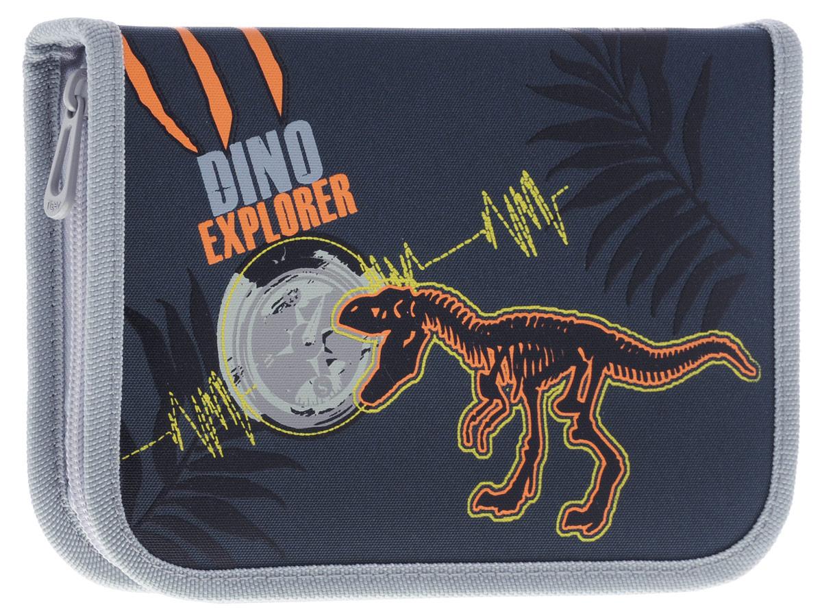 Tiger Enterprise Пенал Dino Explorer с наполнением 22 предмета730396Пенал Tiger Family Dino Explorer станет не только практичным, но и стильным школьным аксессуаром для любого мальчика.Пенал выполнен из качественного материала и закрывается на застежку-молнию. Состоит из одного вместительного отделения, в котором без труда поместятся канцелярские принадлежности.Внутри пенала находятся эластичные крепления для канцелярских принадлежностей. Для обеспечения дополнительной износоустойчивости, пенал отделан лентой из полиэстера по краю, а также дополнен закругленными уголками и имеет текстильное покрытие.Пенал включает в себя комплект канцелярских принадлежностей. В него входят: 6 цветных карандашей, 6 фломастеров, 2 графитных карандаша, ластик, точилка, линейка, треугольник, 3 пластиковые скрепки, расписание.Такой пенал станет незаменимым помощником для школьника, с ним ручки и карандаши всегда будут под рукой и больше не потеряются.