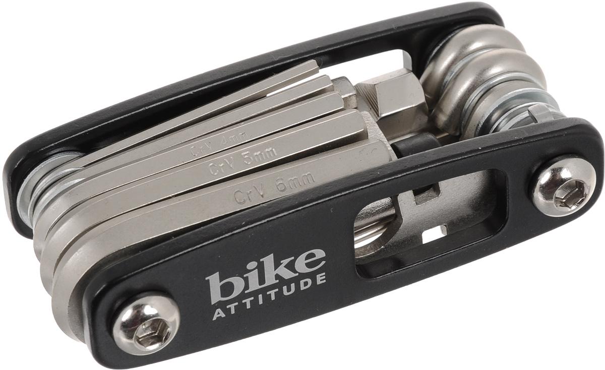 Набор ключей Bike Attitude МТ98А, с отвертками и выжимкой для цепи, 17 предметовDTL0-MT98A-BA01Набор Bike Attitude МТ98А состоит из 6 шестигранных ключей, ключа для спиц, выжимки для цепи, 4 отверток: мелкой крестовой, мелкой плоской, большой крестовой и большой плоской. Все предметы, кроме выжимки для цепи, надежно расположенных в держателе. Набор небольшой и компактный, что делает его незаменимой вещью при велопрогулках и в хозяйстве.Размеры шестигранных ключей: 2 мм, 2,5 мм, 3 мм, 4 мм, 5 мм, 6 мм.