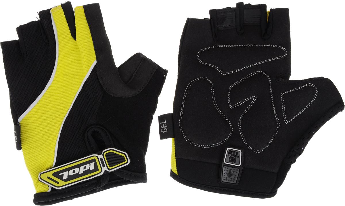 Перчатки велосипедные Idol, цвет: черный, желтый. 1502. Размер XL1502Удобные женские велосипедные перчатки без пальцев Idol предназначены для тех, кто занимается велоспортом, велотуризмом или просто катается на велосипеде. Рабочая поверхность велоперчаток выполнена из синтетической кожи, а верхняя часть - из лайкры, хорошо отводящей влагу и, благодаря своей упругости, плотно сидящей на руке. На запястьях перчатки фиксируются прочными липучками. Для удобного одевания каждая перчатка оснащена системой Pull On.Высокое качество, технически совершенные материалы, оригинальный стильный дизайн, функциональность и долговечность выделяют велоперчатки Idol среди прочих.