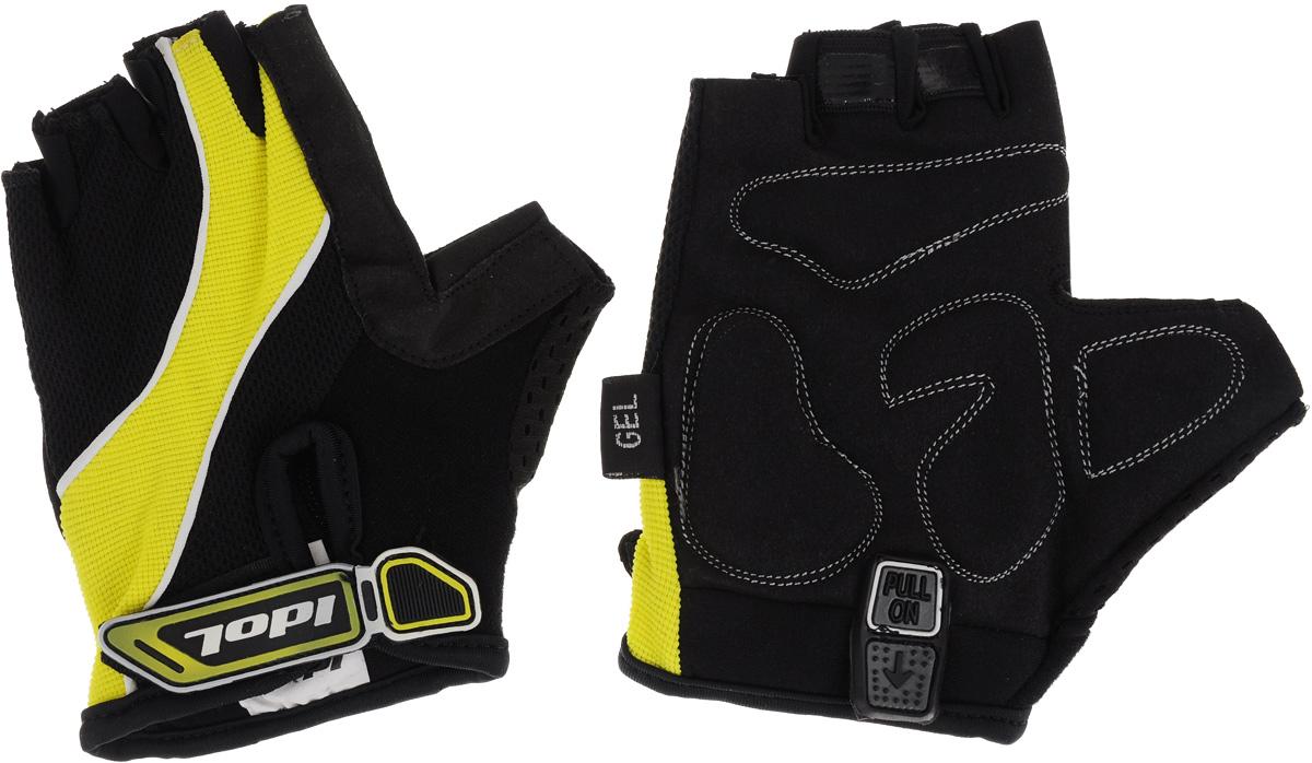 Перчатки велосипедные Idol, цвет: черный, желтый. 1502. Размер MSСJ-2201Удобные женские велосипедные перчатки без пальцев Idol предназначены для тех, кто занимается велоспортом, велотуризмом или просто катается на велосипеде. Рабочая поверхность велоперчаток выполнена из синтетической кожи, а верхняя часть - из лайкры, хорошо отводящей влагу и, благодаря своей упругости, плотно сидящей на руке. На запястьях перчатки фиксируются прочными липучками. Для удобного одевания каждая перчатка оснащена системой Pull On.Высокое качество, технически совершенные материалы, оригинальный стильный дизайн, функциональность и долговечность выделяют велоперчатки Idol среди прочих.