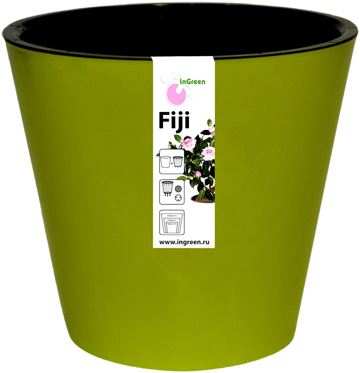 Горшок для цветов InGreen Фиджи, с системой автополива, цвет: зелено-желтый, диаметр 23 смПУ-1_черный/серебристыйГоршок InGreen Фиджи, выполненный из высококачественного пластика, предназначен для выращивания комнатных цветов, растений и трав. Специальная конструкция обеспечивает вентиляцию в корневой системе растения, а дренажные отверстия позволяют выходить лишней влаге из почвы. Изделие состоит из цветного кашпо и внутреннего горшка. Растение высаживается во внутренний горшок и вставляется в кашпо. Инновационная система автополива обладает рядом преимуществ: экономит время при уходе за растением, вода не протекает при поливе и нет необходимости в подставке, корни не застаиваются в воде.Такой горшок порадует вас современным дизайном и функциональностью, а также оригинально украсит интерьер любого помещения. Объем горшка: 5 л. Диаметр горшка (по верхнему краю): 23 см.Высота горшка: 20,8 см.