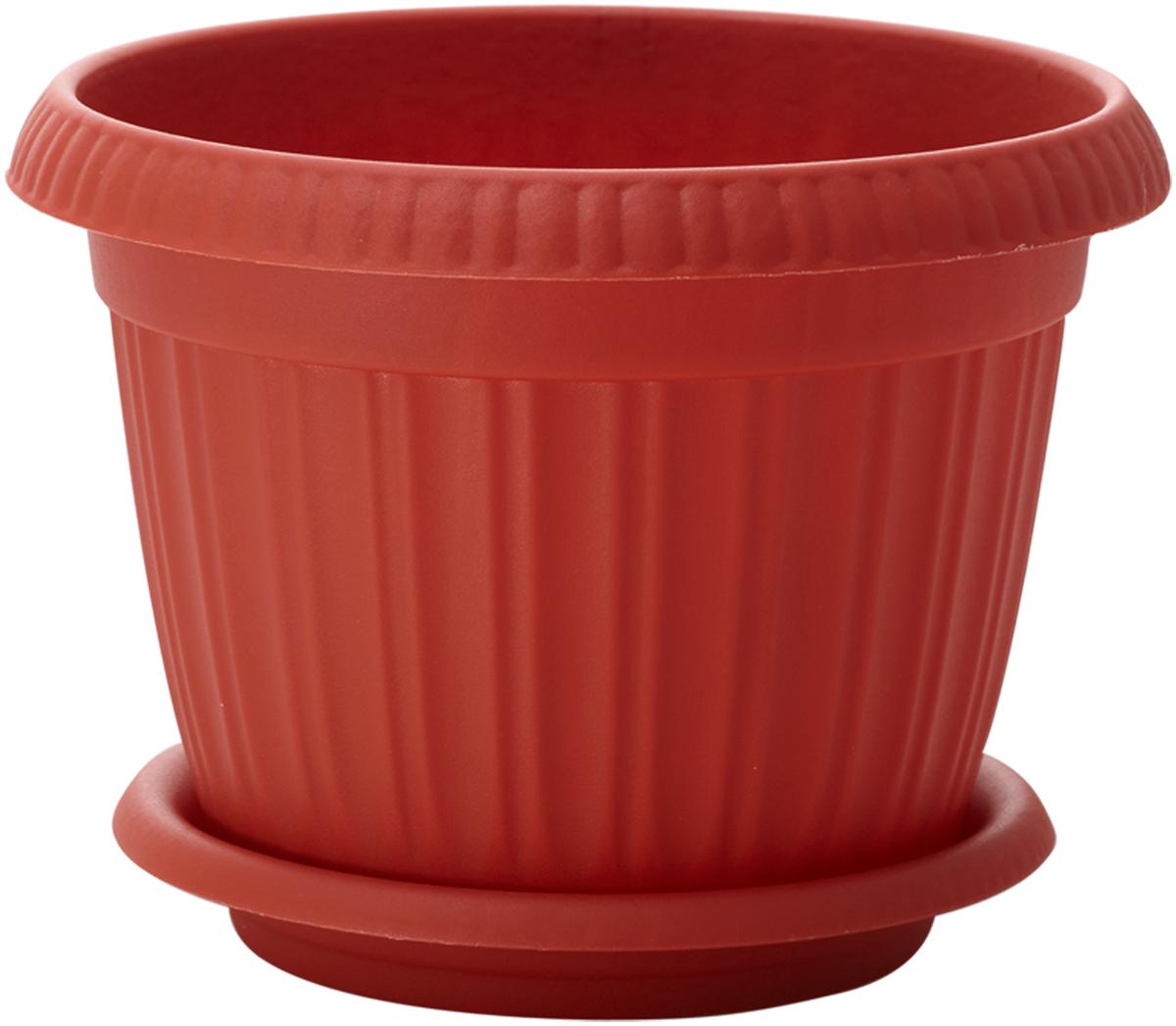 Горшок для цветов InGreen Таити, с подставкой, цвет: терракотовый, диаметр 16 см531-402Горшок InGreen Таити выполнен из высококачественного полипропилена (пластика) и предназначен для выращивания цветов, растений и трав. Снабжен подставкой для стока воды.Такой горшок порадует вас функциональностью, а благодаря лаконичному дизайну впишется в любой интерьер помещения.Диаметр горшка (по верхнему краю): 16 см. Высота горшка: 12,4 см.