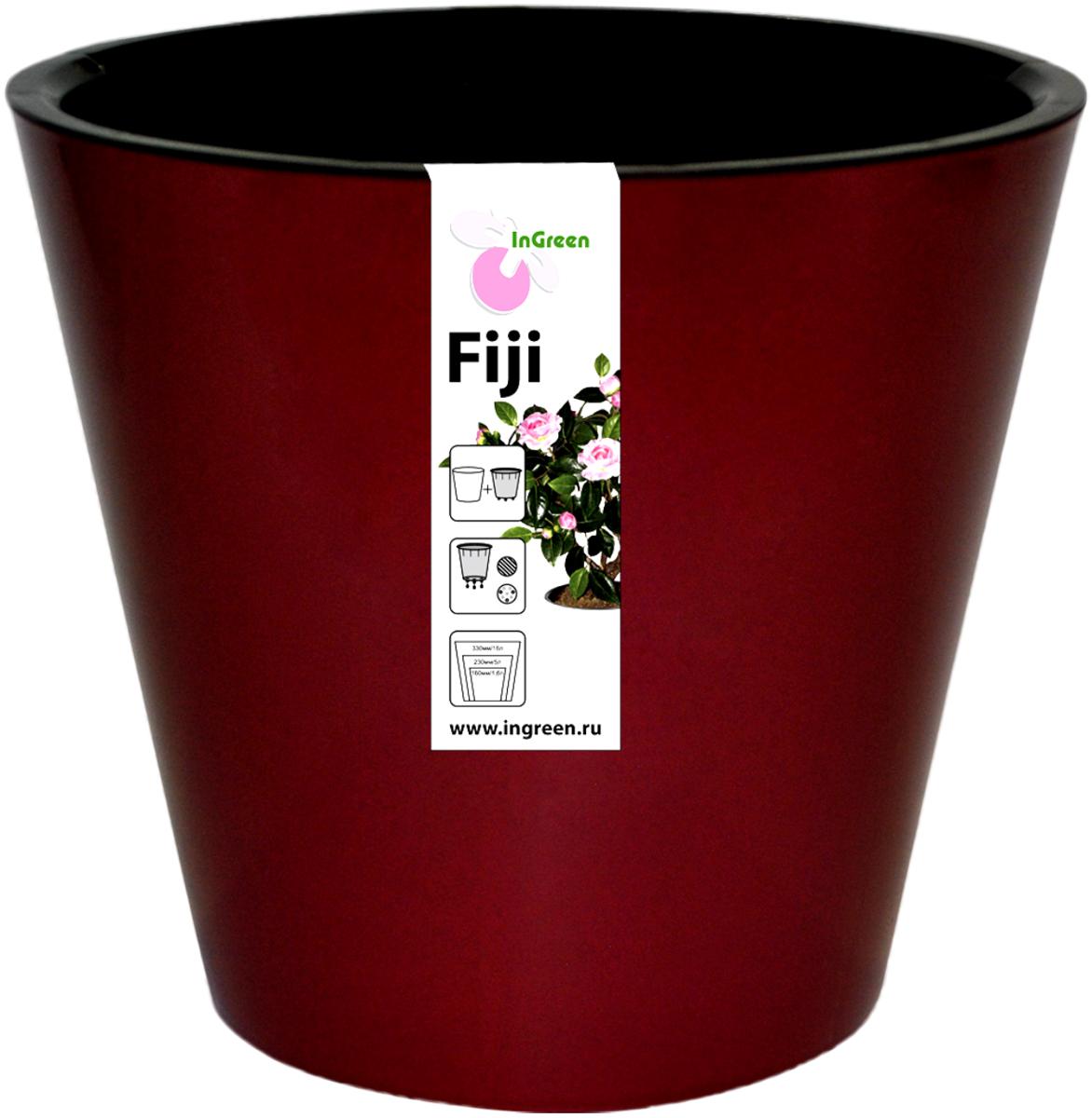 Горшок для цветов InGreen Фиджи, с ситемой атополива, цвет: бордовый, диаметр 16 смZ-0307Горшок InGreen Фиджи, выполненный из высококачественного пластика, предназначен для выращивания комнатных цветов, растений и трав. Специальная конструкция обеспечивает вентиляцию в корневой системе растения, а дренажные отверстия позволяют выходить лишней влаге из почвы. Изделие состоит из цветного кашпо и внутреннего горшка. Растение высаживается во внутренний горшок и вставляется в кашпо. Инновационная система автополива обладает рядом преимуществ: экономит время при уходе за растением, вода не протекает при поливе и нет необходимости в подставке, корни не застаиваются в воде.Такой горшок порадует вас современным дизайном и функциональностью, а также оригинально украсит интерьер любого помещения. Объем: 1,6 л. Диаметр (по верхнему краю): 16 см.Высота: 14,5 см.