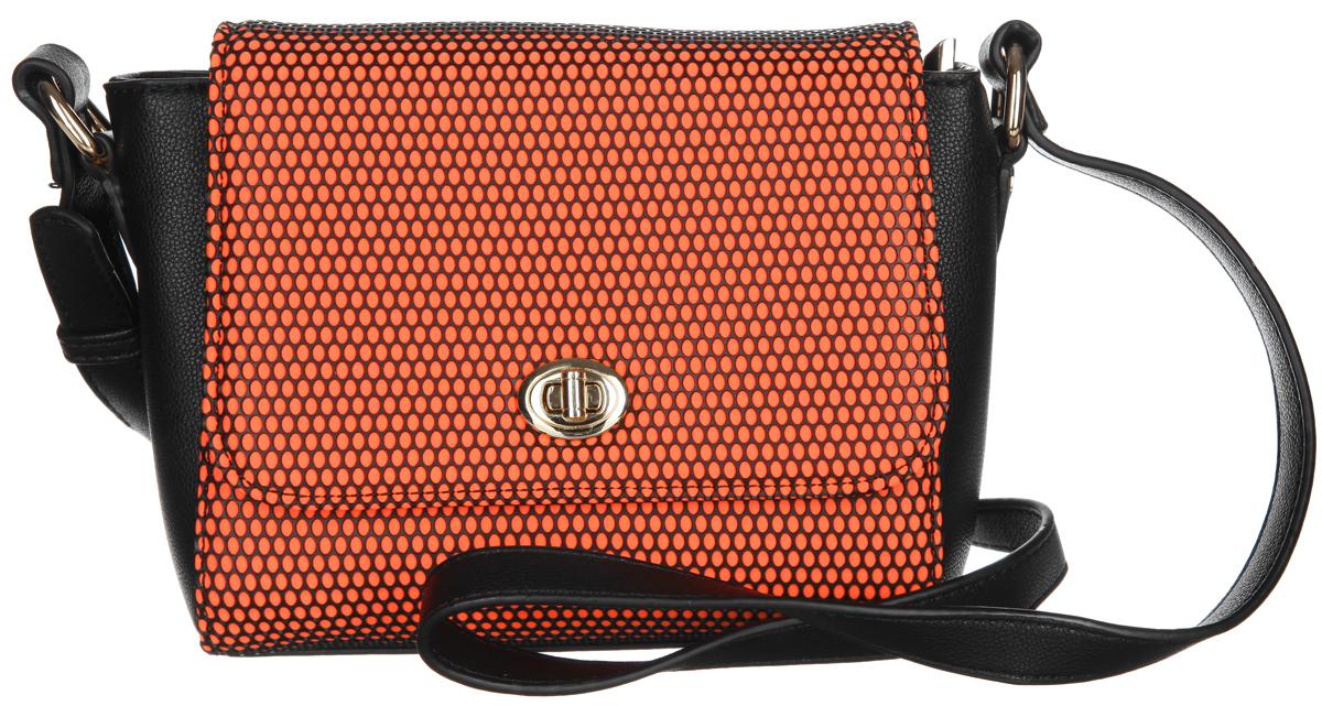 Сумка женская Calipso, цвет: оранжевый, черный. 467-131286-231S76245Оригинальная женская сумка Calipso выполнена из искусственной кожи с отделкой контрастного цвета. Сумка закрывается на клапан с вертушкой. Состоит из одного отделения, застегивающегося на застежку-молнию. Внутри располагаются прорезной карман на застежке-молнии и накладной открытый карман для мелочей. На задней стенке сумки расположен прорезной карман на застежке-молнии. Сумка оснащена несъемным плечевым ремнем с регулируемой длиной. Плоское дно сумки обеспечивает необходимую устойчивость.Сумка - это стильный аксессуар, который подчеркнет вашу изысканность и индивидуальность и сделает ваш образ завершенным. С такой сумочкой вы не останетесь незамеченной.