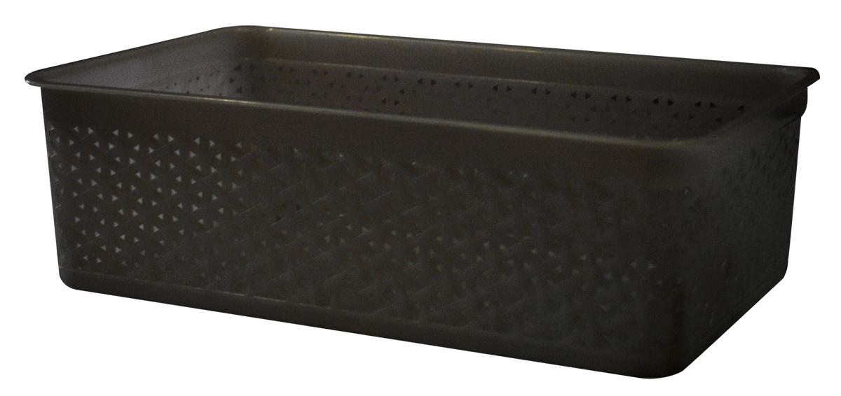 Корзина BranQ Natural Style, цвет: венге, 25,7 х 15,8 х 8 смRG-D31SУниверсальная корзина BranQ Natural Style изготовлена из высококачественного цветного пластика с перфорацией. Она предназначена для хранения различных мелочей дома, на даче или в гараже. Позволяет хранить мелкие вещи, исключая возможность их потери. Элегантный выдержанный дизайн корзины позволяет ей органично вписаться в ваш интерьер и стать его элементом.
