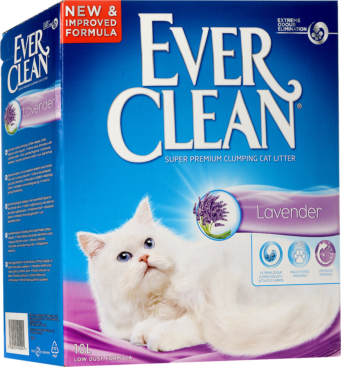 Наполнитель для кошачьего туалета Ever Clean Lavander, комкующийся, с ароматом лаванды, 10 кг. 5965859658_кот лежитНаполнитель Ever Clean Lavander - это высококачественный комкующийся наполнитель с уникальными свойствами. Наполнитель состоит из специально обработанной и очищенной от пыли глины. В ядро каждой гранулы помещен специальным образом обработанный активированный уголь для максимального контроля запахов. Фирменная технология использования активированного угля устраняет неприятные запахи, улавливает и блокирует их, а не маскирует. Гранулы наполнителя не только отлично впитывают, но и образуют крепкие трудноразбиваемые комки. Аммиачный запах эффективно устраняется, а свежий аромат лаванды выделяется по мере необходимости - при контакте с лапами животного. Наполнитель сохранит длительную свежесть в кошачьем туалете и в доме. Специальная формула препятствует образованию пыли. Состав: глина, активированный уголь, ароматизатор. Товар сертифицирован.