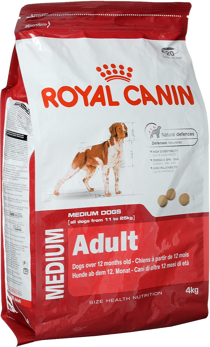 Корм сухой Royal Canin Medium Adult для взрослых собак средних пород, 4 кг0120710Корм сухой Royal Canin Medium Adult - полноценный корм для взрослых собак средних размеров (весом от 11 до 25 кг) в возрасте от 12 месяцев до 7 лет. Особенности: - Естественные механизмы защитыПоддерживает естественные защитные силы организма собаки, благодаря запатентованному комплексу антиоксидантов и маннаноолигосахаридов.- Высокая усвояемость Способствует оптимальному перевариванию пищи, благодаря особой формуле с очень высоким содержанием белков и сбалансированным количеством пищевых волокон.- Жирные кислоты Омега 3: EPA - DHA Рацион обогащен жирными кислотами Омега-3 (EPA-DHA), помогающими поддерживать здоровое состояние кожи.- Высокая пищевая привлекательность Вызывает аппетит у собак средних размеров, благодаря тщательному подбору вкусов и ароматов.Состав: дегидратированные белки животного происхождения (птица), кукурузная мука, кукуруза, пшеничная мука, животные жиры, дегидратированные белки животного происхождения (свинина), пшеница, гидролизат белков животного происхождения, свекольный жом, рыбий жир, соевое масло, дрожжи, минеральные вещества, гидролизат дрожжей (источник мaннановых олигосахаридов). Добавки (в 1 кг): Витамин A 12000 ME, Витамин D3 800 ME, Железо 46 мг, Йод 4,6 мг, Марганец 60 мг, Цинк 181 мг, Ceлeн 0,12 мг.Содержание питательных веществ: белки 25%, жиры 14%, минеральные вещества 5,9%, клетчатка пищевая 1,2%, медь 15 мг/кг, маннановые олигосахариды 0,5 г/кг, жирные кислоты Омега-3 6 г/кг.Товар сертифицирован.