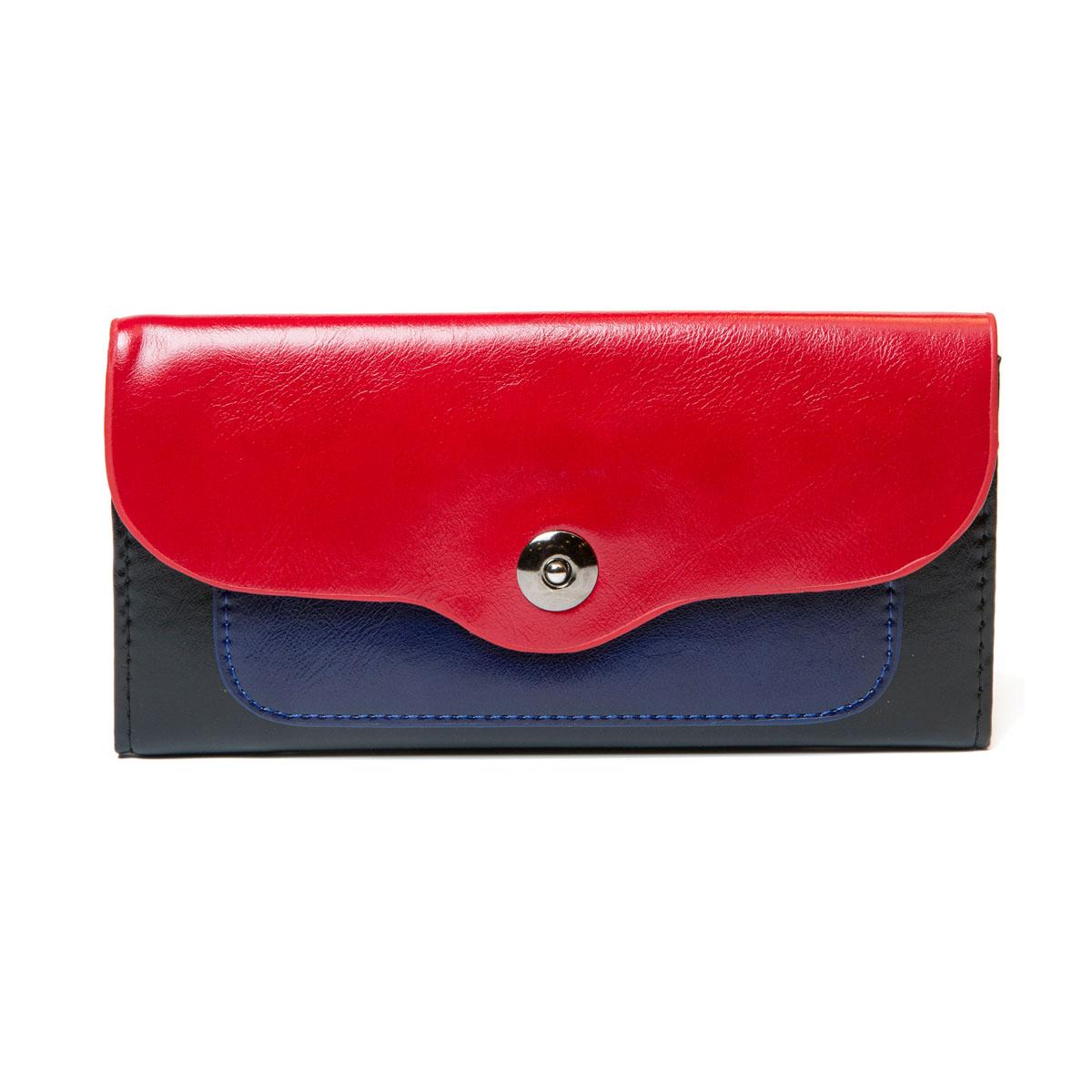 Кошелек женский Mitya Veselkov, цвет: красный, синий, черный. K-3CBLABM8434-58AEКошелек из натуральной и искусственной кожи, станет прекрасным дополнением к вашему неповторимому стилю. Модель закрывается клапаном на кнопку. Внутри состоит из двух больших отделений для купюр, одного отделения для монет на застежке-молнии. Также предусмотрены несколько отделений для визиток или кредиток.Верхняя часть кошелька сделанаиз натуральной кожи, для повышения износостойкости.
