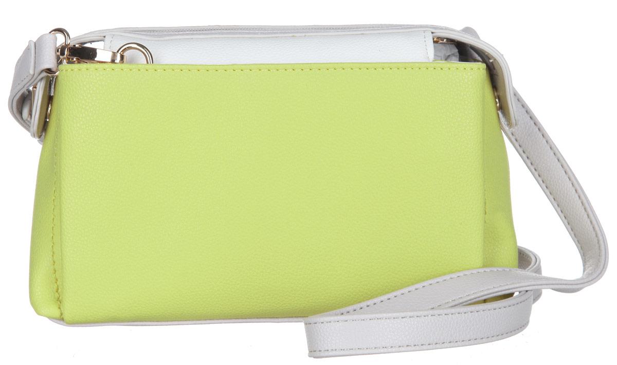 Сумка женская Calipso, цвет: желто-зеленый, белый, светло-серый. 425-541286-231S76245Стильная женская сумка Calipso выполнена из искусственной кожи зернистой фактуры.Сумка состоит из одного основного отделения, закрывающегося на пластиковую застежку-молнию. Модель содержит врезной карман на молнии, два накладных кармана для мелочей и ремешок с кольцом для ключей. По обеим сторонам сумки расположены накладные карманы, каждый из которых закрывается на магнитную кнопку. Плоское дно сумки обеспечивает необходимую устойчивость.Сумка оснащена съемным плечевым ремнем, регулируемой длины.Прилагается фирменный текстильный чехол для хранения.Сумка - это стильный аксессуар, который сделает ваш образ изысканным и завершенным. Классические формы и оригинальное оформление сумки Calipso подчеркнет ваше отменное чувство стиля.