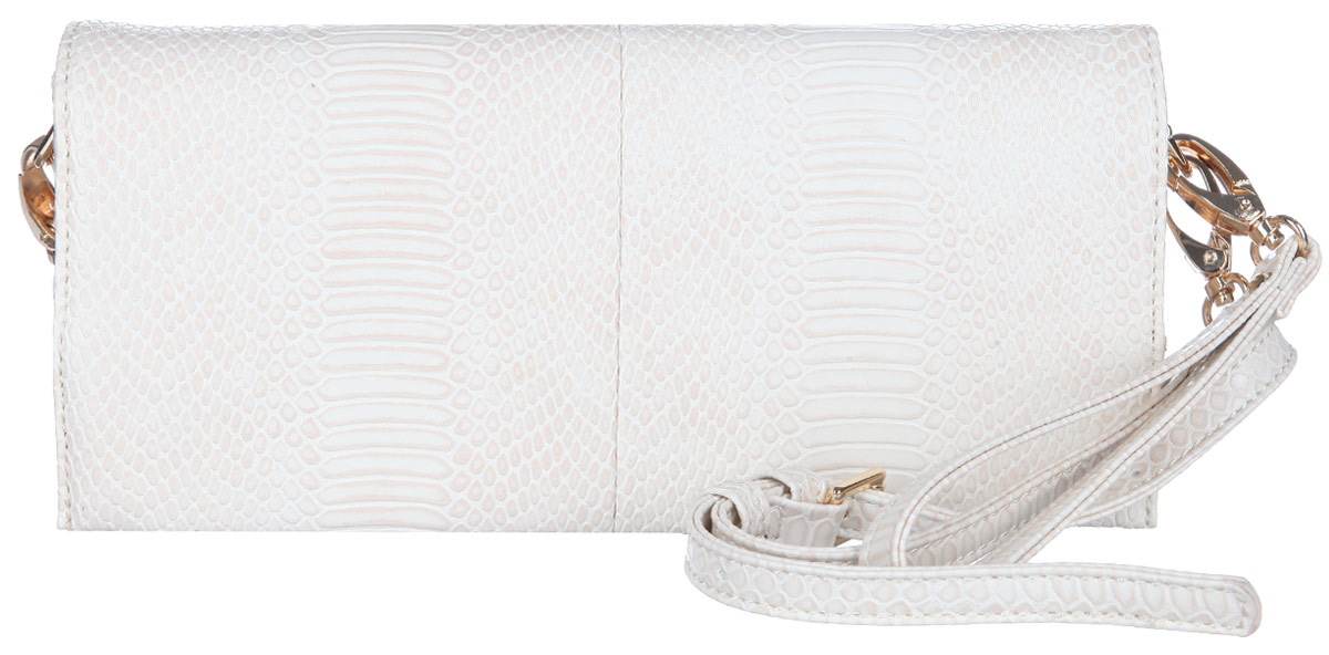 Сумка-клатч женская VelVet, цвет: молочный. 599-191287-2313-47660-00504Стильная женская сумка-клатч VelVet выполнена из искусственной кожи и оформлена тиснением под змею. Модель закрывается клапаном на двух магнитных кнопках. Внутри сумки карман-средник на молнии, врезной карман на молнии и небольшой нашивной кармашек, также предусмотрен ремешок с кольцом для ключей. На тыльной стороне сумки предусмотрен врезной карман на молнии.Модель оснащена съемным плечевым ремнем, регулируемой длины и съемным ремешком на запястье. Роскошная сумка-клатч внесет элегантные нотки в ваш образ и подчеркнет ваше отменное чувство стиля.