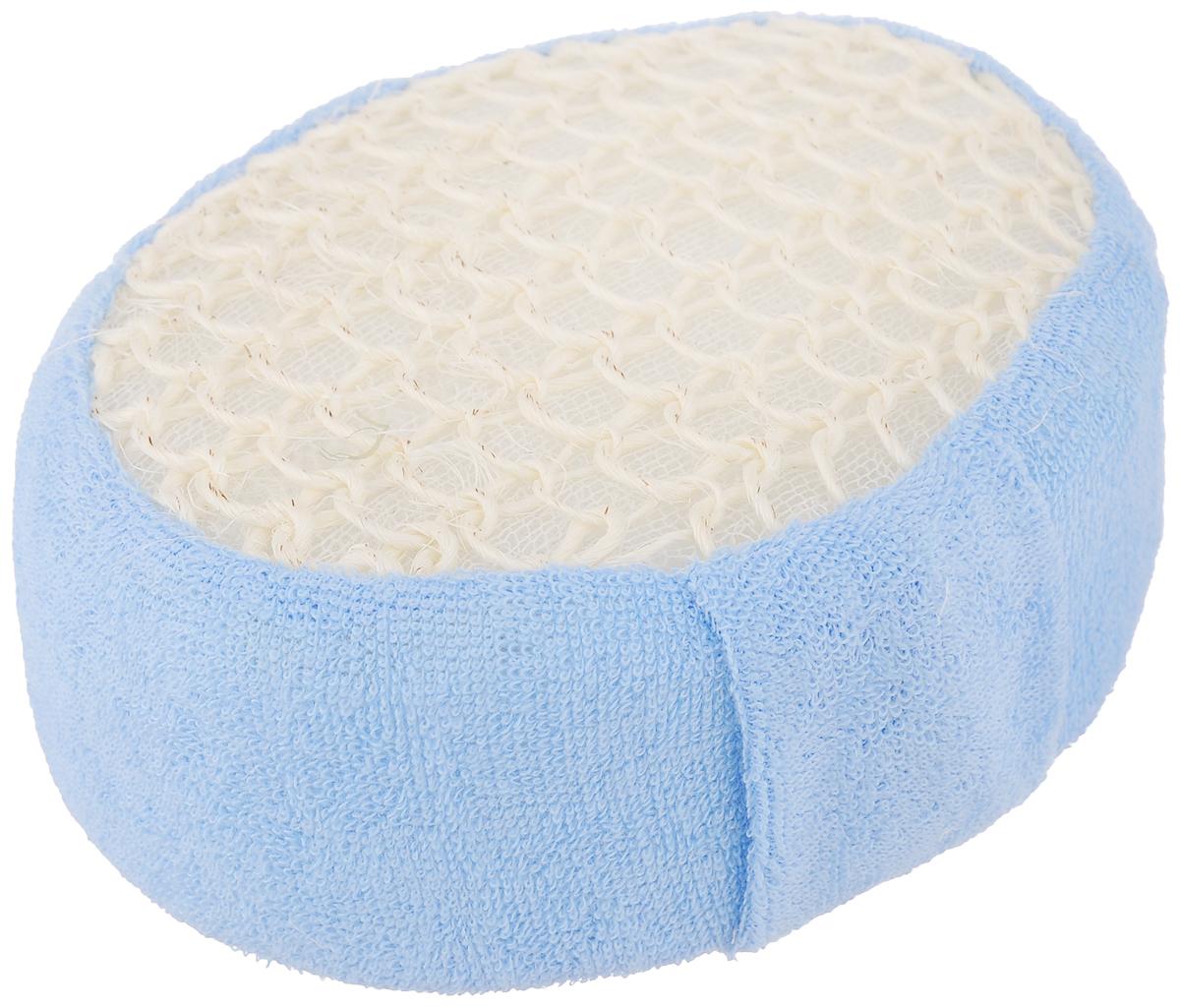 Мочалка Банные штучки, из сизаля и хлопка, цвет: голубой5010777139655Натуральная мочалка Банные штучки выполнена из волокна мексиканской агавы - сизаля. Предназначена для интенсивного, антицеллюлитного массажа, обладает эффектом скраба. Обратная сторона мочалки изготовлена из нежного хлопка, бережно очищающего кожу. Идеально подходит для людей, склонных к аллергии, так как не требует использования мыла. Рекомендуется предварительно запарить.