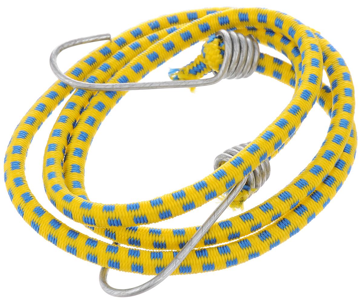Резинка багажная МастерПроф, с крючками, цвет: желтый, синий, 0,6 х 110 см. АС.02005221395598Багажная резинка МастерПроф, выполненная из натурального каучука, оснащена специальными металлическими крюками, которые обеспечивают прочное крепление и не допускают смещения груза во время его перевозки. Изделие применяется для закрепления предметов к багажнику. Такая резинка позволит зафиксировать как небольшой груз, так и довольно габаритный.Температура использования: -50°C до +50°C.Безопасное удлинение: 125%.Толщина резинки: 0,6 см.Длина резинки: 110 см.