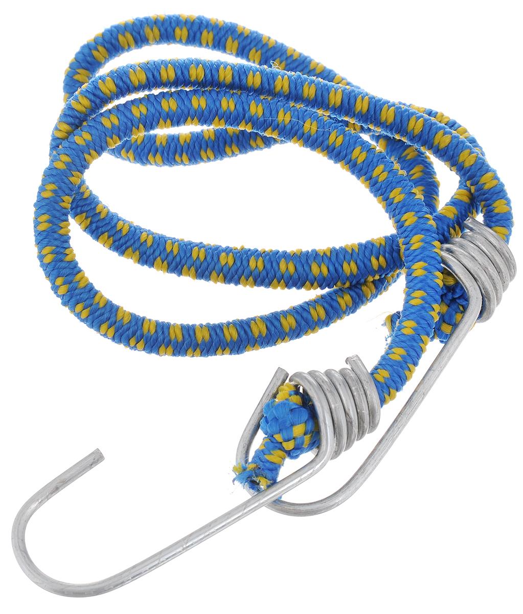 Резинка багажная МастерПроф, с крючками, цвет: синий, желтый, 0,6 х 80 см. АС.020021CA-3505Багажная резинка МастерПроф, выполненная из синтетического каучука, оснащена специальными металлическими крючками, которые обеспечивают прочное крепление и не допускают смещения груза во время его перевозки. Изделие применяется для закрепления предметов к багажнику. Такая резинка позволит зафиксировать как небольшой груз, так и довольно габаритный.Температура использования: -15°C до +50°C.Безопасное удлинение: 60%.Толщина резинки: 0,6 см.Длина резинки: 80 см.