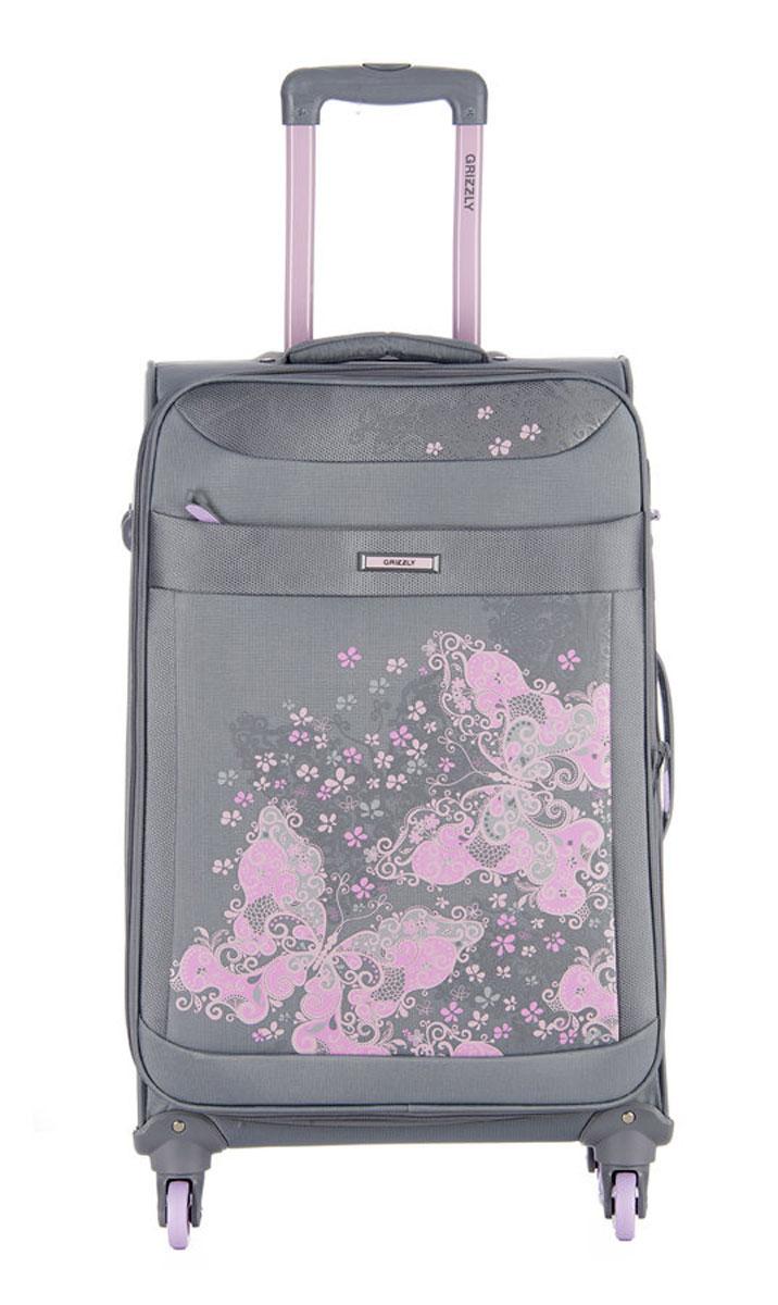 Чемодан Grizzly, цвет: серый, светло-розовый, 40 л. LT-596-20/198V-09002Супер-легкий чемодан. Чемодан на четырех колесах, с телескопической ручкой, встроенным кодовым замком, с трансформирующимся основным отделением, объемными карманами в крышке, с внутренним карманом на молнии, регулируемыми фиксирующими стропами на фастексах. В комплект входит водонепроницаемый несессер.