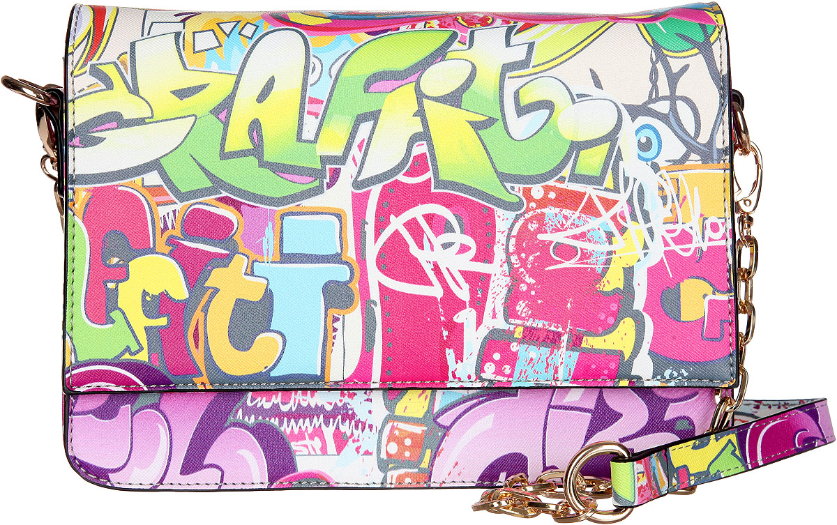 Сумка женская VelVet, цвет: мультиколор. 594-341286-231KV996OPY/MОригинальная молодёжная женская сумка VelVet выполнена из искусственной кожи зернистой фактуры и оформлена современным принтом граффити.Сумка состоит из одного основного отделения, закрывающегося на пластиковую застежку-молнию. Внутри врезной карман на молнии и два накладных кармана для телефона и мелочей, также предусмотрен ремешок с кольцом для ключей. По обеим сторонам изделия расположены открытые накладные карманы, дополнительно закрывающиеся на клапан с магнитной кнопкой. На задней стенке предусмотрен врезной карман на молнии.Сумка оснащена двумя съемными плечевыми ремнями, один из которых регулируемой длины, а второй - украшен металлическими цепочками.Прилагается фирменный текстильный чехол для хранения. Оригинальная сумка VelVet дополнит ваш образ и подчеркнет ваше отменное чувство стиля.