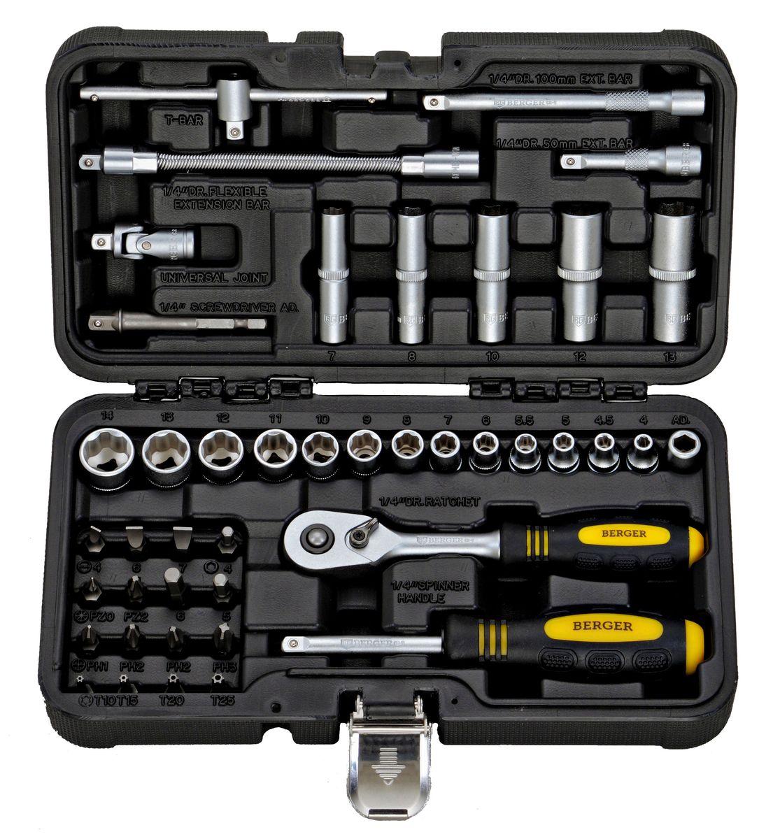 Универсальный набор инструментов Berger, 43 предмета. BG043-142205-H8Набор Berger - универсальный набор инструментов для ремонта и обслуживания автомобилей. Комплект подойдет для использования как профессионалами в автомастерских, так и водителями в гараже или в дороге. Инструменты выполнены из хромованадиевой стали. Кейс из пластика компактно вмещает в себя 43 предмета набора, обладает ручкой для транспортировки и защелками.В наборе:- 1. 13 шт. – 1/4 головки торцевые 6-гранные Super Lock: 4, 4.5, 5, 5.5, 6, 7, 8, 9, 10, 11, 12, 13, 14 мм;- 2. 5 шт. - 1/4 головки торцевые длинные 6-гранные Super Lock: 7, 8, 10, 12, 13 мм;- 3. 1 шт. - 1/4 трещотка (ключ трещоточный с быстрым сбросом) 45 зубов;- 4. 1 шт. - 1/4 вороток Т-образный 110 мм; - 5. 1 шт. - 1/4 отвертка с присоединительным квадратом;- 6. 1 шт. - 1/4 удлинитель гибкий: 150 мм;- 7. 2 шт. - 1/4 удлинитель: 50 мм, 100 мм;- 8. 1 шт. - 1/4 кардан шарнирный;- 9. 1 шт. - 1/4 адаптер для бит;- 10. 16 шт. - 1/4 биты:- Ph (крест): 1, 2, 2, 3;- Pz (позидрайв): 0, 2;- TORX (звездочка): T10, T15, T20, T25;- SLOT (шлиц): 4, 6, 7;- HEX (шестигранник): 4, 5, 6;-11. 1 шт. - 1/4 адаптер для шуруповерта.
