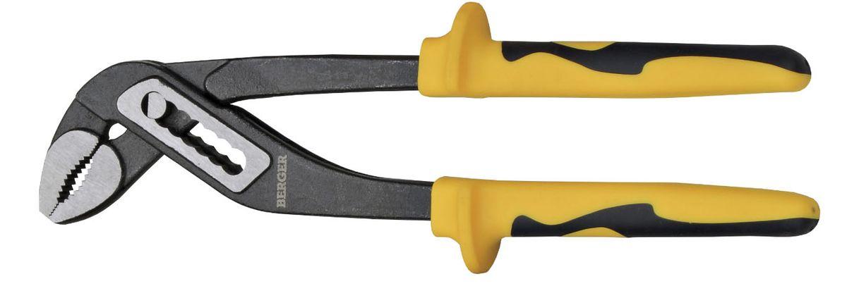 Клещи переставные Berger, длина 25 см. BG-250WPP54 009312Переставные клещи Berger имеют специальную раздвижную конструкцию рабочей части для возможности захвата деталей различных размеров. Губки выполнены из высокопрочной хромованадиевой стали, на рукоятках расположены эргономичные пластиковые ручки с противоскользящими зонами из резины.Длина инструмента: 25 см.