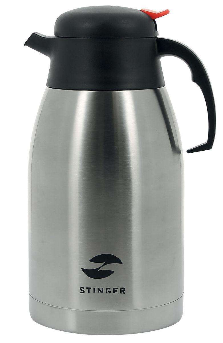 Термо-кофейник Stinger, 2 лHY-CP301-2Термо-кофейник Stinger предназначен для хранения горячих или холодных напитков. Изготовлен из пищевой нержавеющей стали 201, которая обладает высоким уровнем качества и абсолютно безопасна для здоровья человека. Кофейник выполнен в классическом дизайне серебристого цвета. Он оснащен удобной эргономичной ручкой и кнопкой-дозатором напитков, при нажатии на которую можно налить необходимое количество. Пластиковая крышка с силиконовой прослойкой обеспечивает надежное закрытие термоса и гарантирует сохранность напитка в процессе транспортировки. Благодаря наличию металлической колбы и хорошей вакуумной изоляции изделие сохраняет температуру 55°С после 24 часов. Такой термо-кофейник непременно пригодится во время проведения отдыха на природе, путешествии, рыбалке или просто дома.Диаметрпо верхнему краю: 8 см.Диаметр основания: 13 см. Высота (с учетом крышки): 27 см.