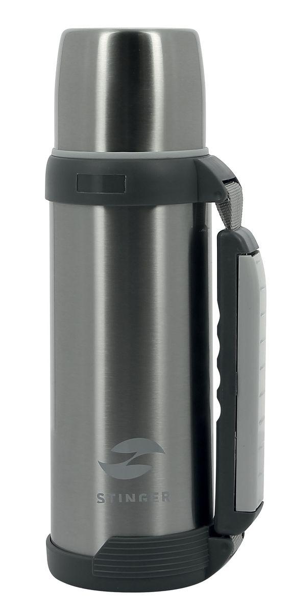 Термос Stinger, цвет: серый, 1 л термосы stinger термос 1 8 л широкий с ручкой