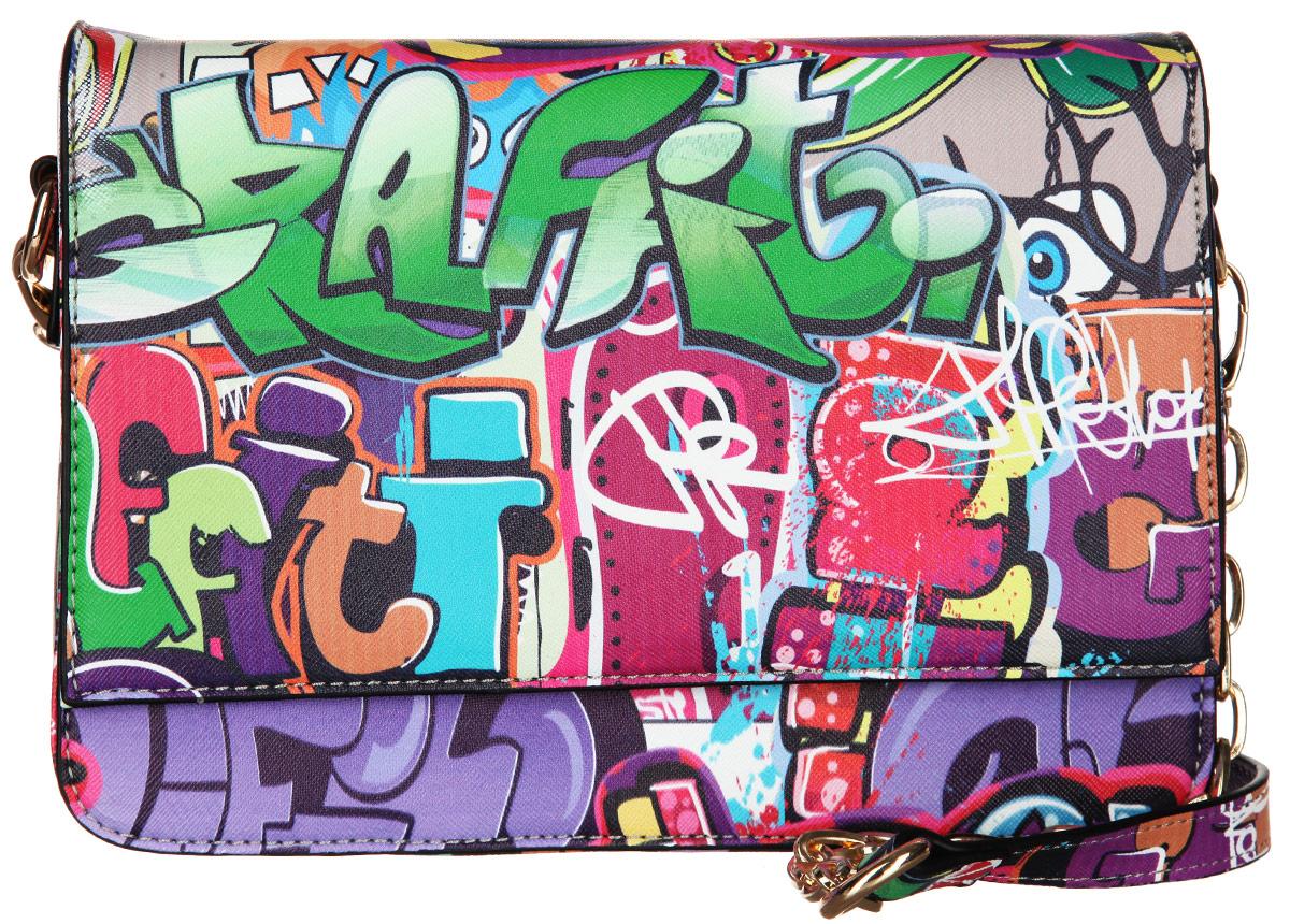 Сумка женская VelVet, цвет: мультиколор. 594-201286-231S76245Оригинальная молодёжная женская сумка VelVet выполнена из искусственной кожи зернистой фактуры и оформлена современным принтом граффити.Сумка состоит из одного основного отделения, закрывающегося на пластиковую застежку-молнию. Внутри врезной карман на молнии и два накладных кармана для телефона и мелочей, также предусмотрен ремешок с кольцом для ключей. По обеим сторонам изделия расположены открытые накладные карманы, дополнительно закрывающиеся на клапан с магнитной кнопкой. На задней стенке предусмотрен врезной карман на молнии.Сумка оснащена двумя съемными плечевыми ремнями, один из которых регулируемой длины, а второй - украшен металлическими цепочками.Прилагается фирменный текстильный чехол для хранения. Оригинальная сумка VelVet дополнит ваш образ и подчеркнет ваше отменное чувство стиля.