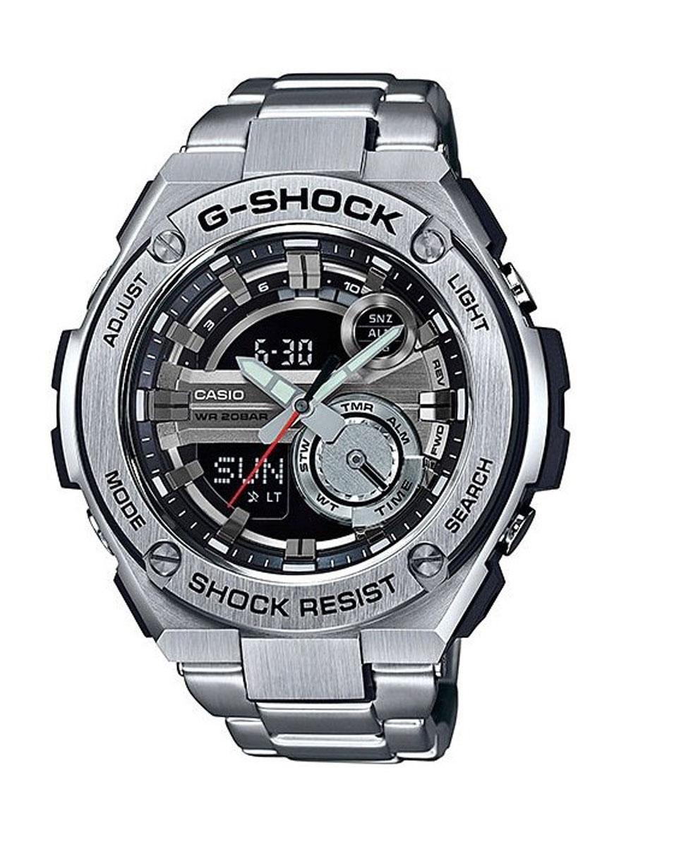 Часы наручные мужские Casio G-Shock, цвет: стальной, черный. GST-210D-1ABM8434-58AEФункция мирового времени в 31 часовом поясе с обозначением 48 основных городов в этих временных зонах. Функция секундомера с точностью измерений 1/100 сек. и общим временем 24 часа. Режимы Add и Split. Таймер обратного отчета с точность 1 секунда и диапазоном от 1 минуты до 60 минут. Пять ежедневных будильников, один с функцией автоповтора «snooze» и ежечасный сигнал. Включение/выключение звука кнопок Автоматический календарь с возможностью настройки даты до 2099 года. Отображение времени в 12/24-часовом формате. Сверх яркая электрическая подсветка с регулируемым временем свечения от 1,5 до 3 секунд. Автоматическая светодиодная LED-подсветка дисплея активируется как при нажатии соответствующей кнопки, так и при подъеме и повороте руки при недостаточной освещенности. Фронтальная поверхность корпуса из нержавеющей стали 316L, поверхности с матовой шлифовкой (сатинированием). Размеры корпуса: ширина - 52,4 мм, высота - 59,1 мм и толщина - 16,1 мм. Вес приблизительно 111 грамм (195 грамм для моделей с браслетом). Корпус часов специально спроектирован с повышенной устойчивостью к воздействию вибрации. Безель из нержавеющей стали 316L. Минеральное стекло устойчивое к возникновению царапин. Объемный циферблат, 3D метки и стрелки с необритовым покрытием имеющим долгое послесвечение. Водостойкость 200 метров (20АТМ). Браслет с литыми звеньями из нержавеющей стали 316L, литая раскладывающаяся застежка, раскладывающаяся при одном нажатии пальцами.