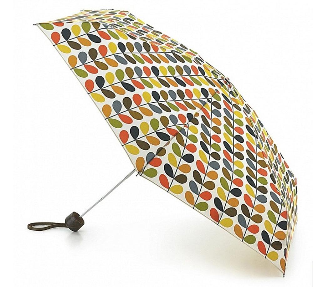 Зонт женский Orla Kiely Microslim, механический, 5 сложений, цвет: мультиколор. L749-1964CX1516-50-10Стильный механический зонт Orla Kiely Microslim в 5 сложений даже в ненастную погоду позволит вам оставаться элегантной. Облегченный каркас зонта выполнен из 6 спиц из фибергласса и алюминия, стержень также изготовлен из алюминия, удобная рукоятка - из дерева. Купол зонта выполнен из прочного полиэстера и оформлен оригинальным красочным принтом. В закрытом виде застегивается хлястиком на липучку. Зонт механического сложения: купол открывается и закрывается вручную до характерного щелчка. На рукоятке для удобства есть небольшой шнурок, позволяющий при необходимости надеть зонт на руку. К зонту прилагается чехол, закрывающийся на липучку. Изделие упаковано в подарочную коробку.Такой зонт компактно располагается в кармане, сумочке, дверке автомобиля.