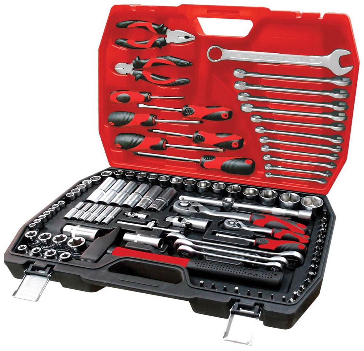 Набор инструментов Zipower, 103 предмета. PM 411098298123_черныйПолноценный автосервис в вашем багажнике. Любые ремонтные работы, широкий диапазон решаемых проблем, удобство и безопасность гарантированы. В комплекте: шестигранные торцевые головки с битами, свечные головки, гаечные и накидные ключи, отверточная рукоятка для бит, бокорезы, комбинированные плоскогубцы.Тщательно подобранный ассортимент инструмента удовлетворит запросы и начинающего автовладельца, и профессионального механика.Применение специальной технологии закалки и термической обработки хромованадиевой стали гарантирует высокую прочность инструмента, его износоустойчивость при интенсивном использовании.Двухкомпонентные рукоятки обеспечивают комфорт во время выполнения работ. Количество предметов: 103 шт.Материал инструмента: Cr-V
