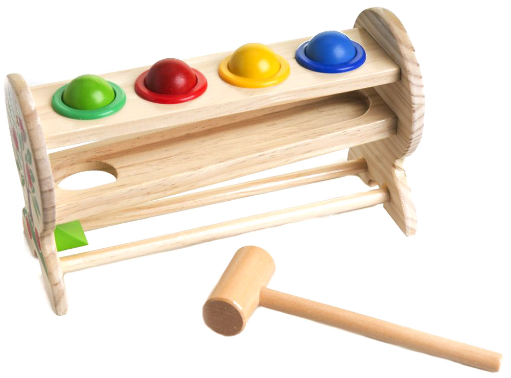 """Игровой набор """"Горка-шарики"""" привлечет внимание вашего ребенка и займет его внимание надолго. Набор состоит из горки с четырьмя круглыми отверстиями, молоточка и четырех шариков зеленого, желтого, красного и синего цветов. Игровой набор очень прост в использовании, стоит всего лишь разложить шарики по своим местам на горке и при помощи молоточка проталкивать их в низ, чтобы шарики скатились по наклонной и оказались на самом нижнем уровне горки. Деревянные шарики не проваливаются самопроизвольно, так как они удерживаются пластиковыми кольцами, вклеенными в отверстия деревянной основы. Игровой набор """"Горка-шарики"""" способствует развитию цветовосприятия, сообразительности и мелкой моторики рук."""