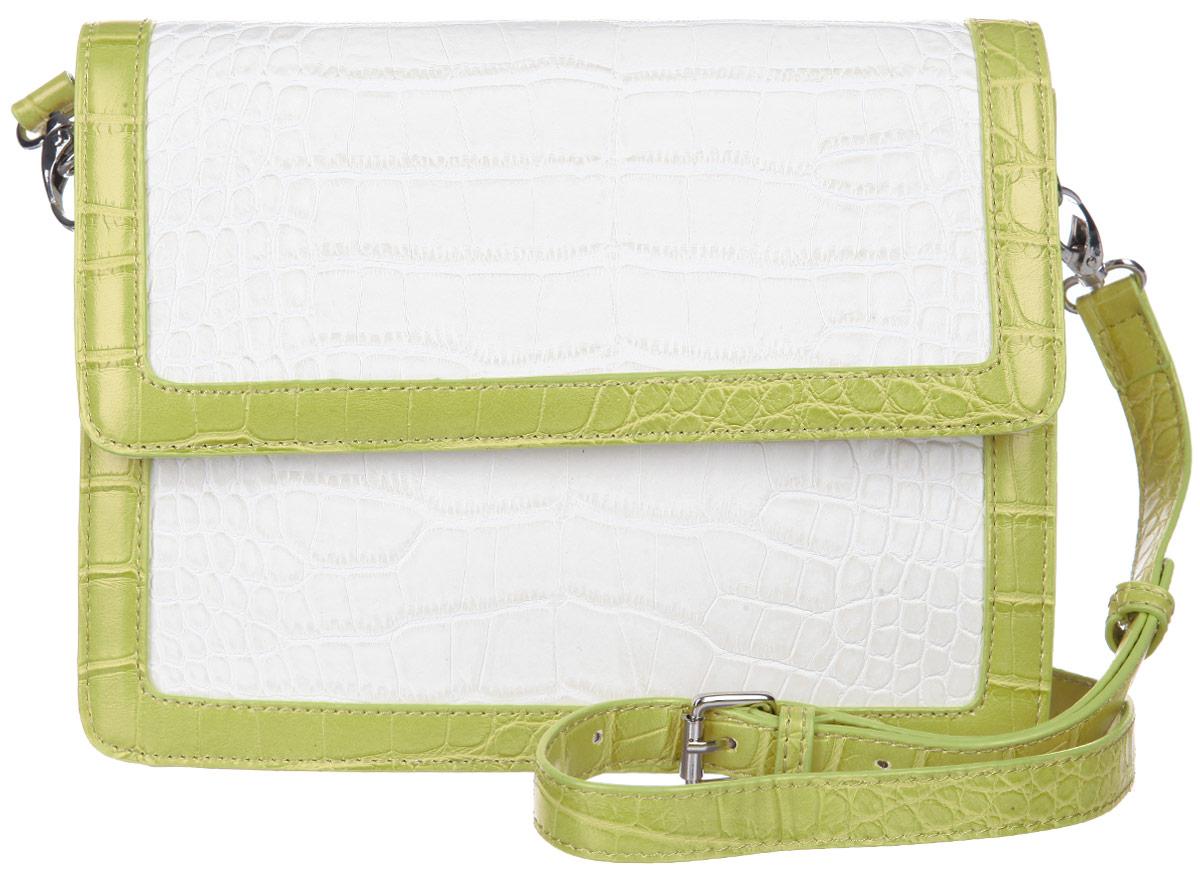 Сумка женская Calipso, цвет: молочный, желто-зеленый. 422-191286-231S76245Стильная женская сумка Calipso выполнена из искусственной кожи. Модель жесткой конструкции, оформлена тиснением под крокодила и контрастным обрамлением края.Сумка состоит из одного основного отделения, закрывающегося клапаном на магнитной кнопке. Изделие содержит карман-средник на молнии, врезной карман на молнии, два накладных кармана для мелочей и ремешок с кольцом для ключей. На тыльной стороне сумки предусмотрен врезной карман на молнии.Сумка оснащена съемным плечевым ремнем, регулируемой длины.Прилагается фирменный текстильный чехол для хранения.Сумка - это стильный аксессуар, который сделает ваш образ изысканным и завершенным. Классические формы и оригинальное оформление сумки Calipso подчеркнет ваше отменное чувство стиля.