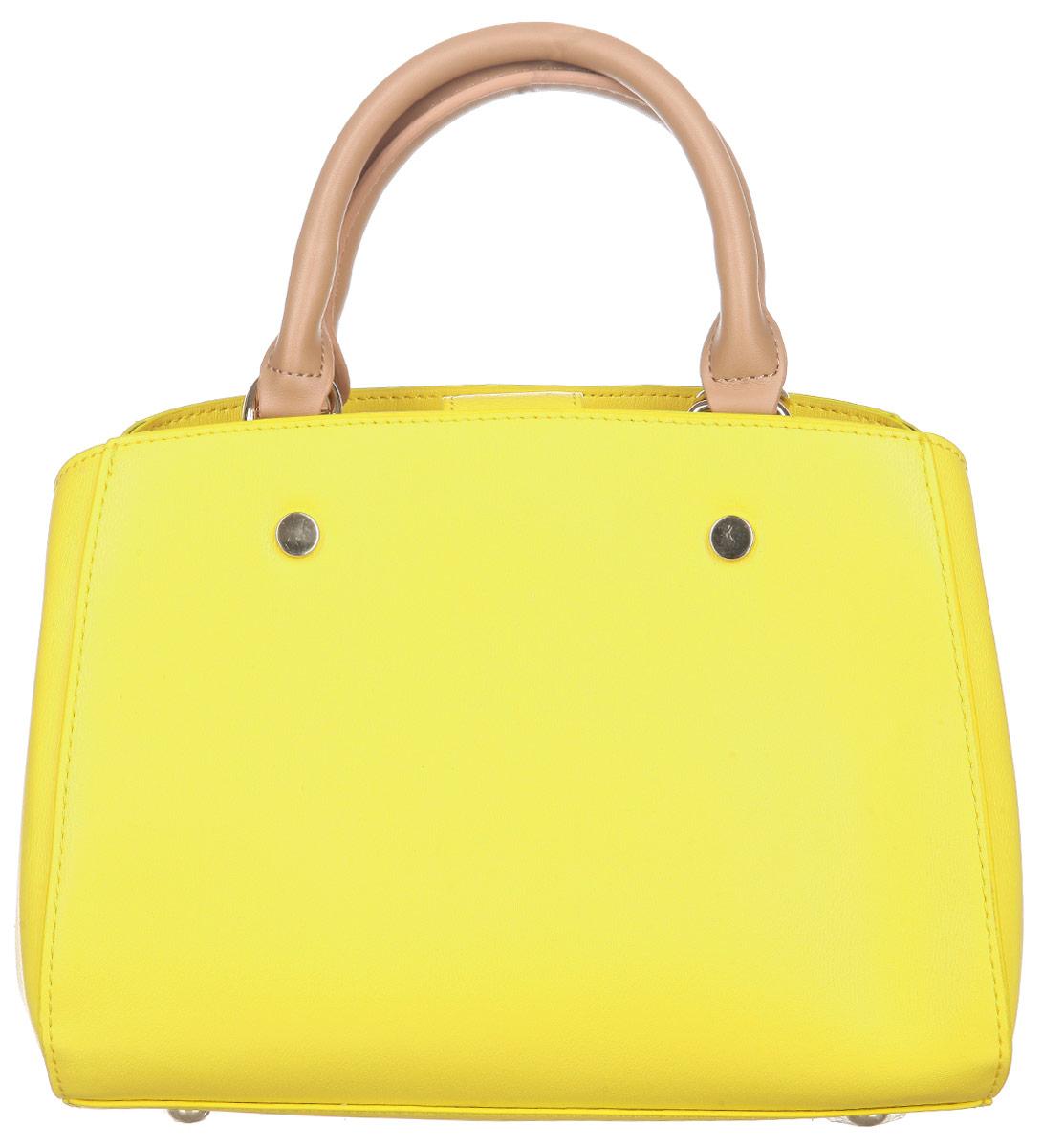 Сумка женская VelVet, цвет: желтый. 955-141286-172S76245Оригинальная женская сумка VelVet выполнена из искусственной кожи, оформленной естественным тиснением. Сумка закрывается на хлястик с магнитным замком и состоит из двух вместительных отделений, разделенных средником на молнии. Внутри располагаются два открытых кармана для мелочи и мобильного телефона и прорезной карман на застежке-молнии. Металлические ножки на дне сумки обеспечивают необходимую устойчивость.Сумка оснащена удобными ручками для переноски и плечевым ремнем.Сумка - это стильный аксессуар, который подчеркнет вашу изысканность и индивидуальность и сделает ваш образ завершенным. С такой сумочкой вы не останетесь незамеченной.
