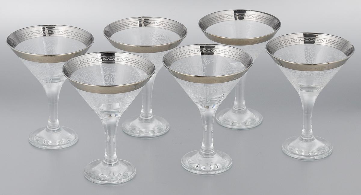 Набор бокалов для мартини Мусатов Люция, 170 мл, 6 штVT-1520(SR)Набор Мусатов Люция состоит из 6 бокалов, изготовленных из высококачественного стекла. Изделия оформлены оригинальной окантовкой и предназначены для подачи мартини. Такой набор прекрасно дополнит праздничный стол и станет желанным подарком в любом доме. Разрешается мыть в посудомоечной машине. Диаметр бокала (по верхнему краю): 10,7 см. Высота бокала: 13,7 см. Диаметр основания бокала: 6,5 см.