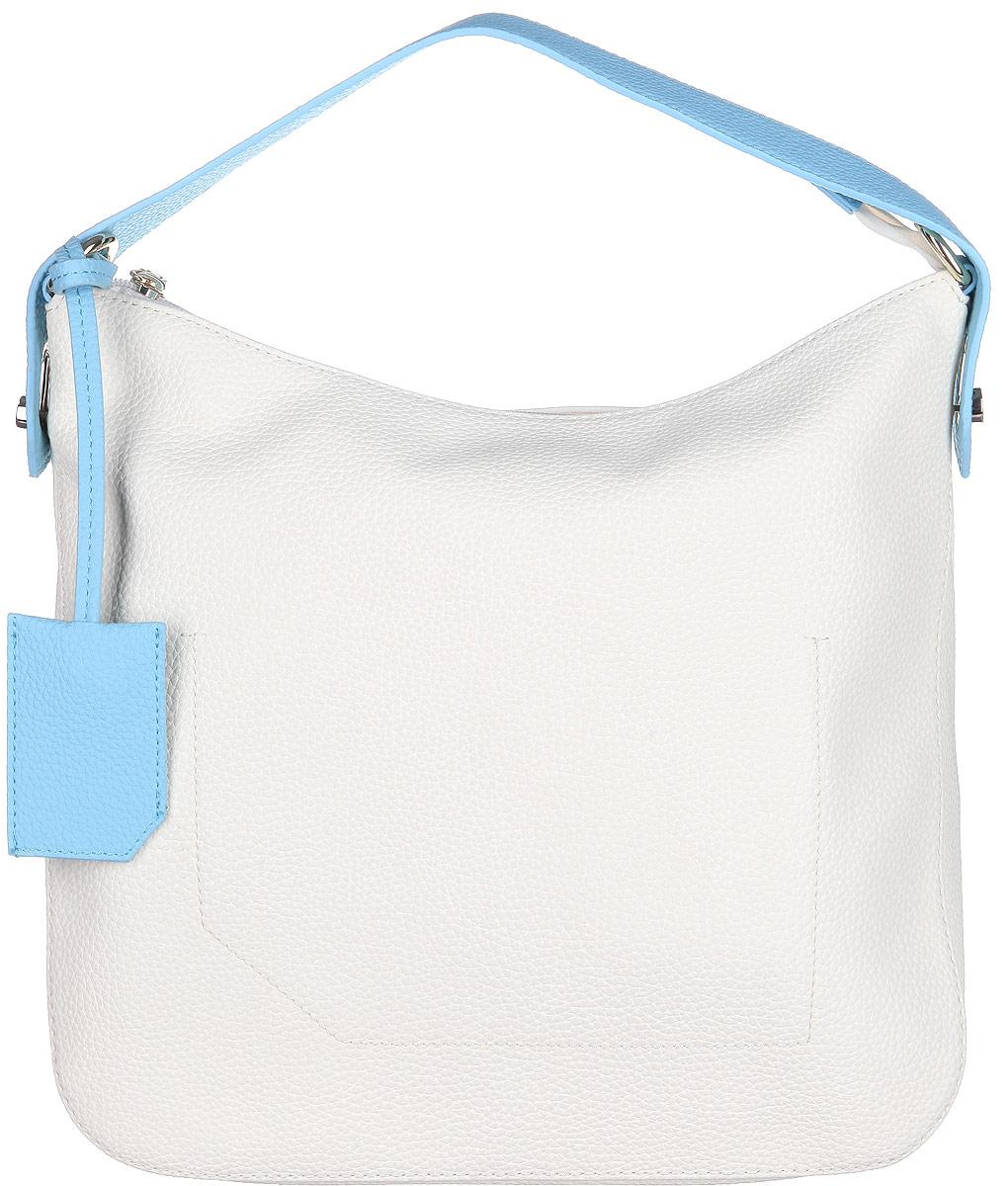 Сумка женская Calipso, цвет: молочный, голубой. 824-191286-1723-47670-00504Стильная женская сумка Calipso выполнена из искусственной кожи зернистой фактуры.Сумка состоит из одного вместительного отделения, закрывающегося на пластиковую застежку-молнию. Модель содержит карман-средник на молнии, врезной карман на молнии и два накладных кармана для телефона и мелочей. На тыльной стороне сумки расположен врезной карман на молнии. Предусмотрен съемный ремешок с небольшим чехлом для ключей.Сумка оснащена одной ручкой, закреплённой металлической фурнитурой и съемным плечевым ремнем, регулируемой длины.Прилагается фирменный текстильный чехол для хранения.Сумка - это стильный аксессуар, который сделает ваш образ изысканным и завершенным. Классические формы и оригинальное оформление сумки Calipso подчеркнет ваше отменное чувство стиля.