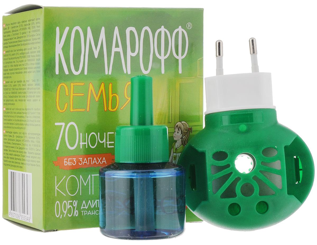 Фумигатор Комарофф Семья, универсальный, + жидкость от комаров, без запаха, с индикатором включения, 70 ночей, 45 млOF01070031Фумигатор Комарофф Семья используется для уничтожения комаров в помещениях площадью не менее 16 м2. Фумигатор с поворотной вилкой для жидкостных флаконов и пластин. Жидкость Комарофф без запаха.Специально разработанная рецептура, без запаха, гарантирует безопасность и эффективность использования.Жидкость Комарофф незаменима для уничтожения комаров и других летающих насекомых (москитов, мошек) в помещении. Один флакон жидкости обеспечивает надежную защиту от комаров на протяжении 70 ночей. Максимальный эффект достигается при использовании жидкости в комплекте с фумигатором Комарофф. Объем жидкости: 45 мл.Состав: ДВ: трансфлутрин 0,15%, праллетрин 0,80%, растворитель, стабилизатор.Количество ночей: 70.Товар сертифицирован.