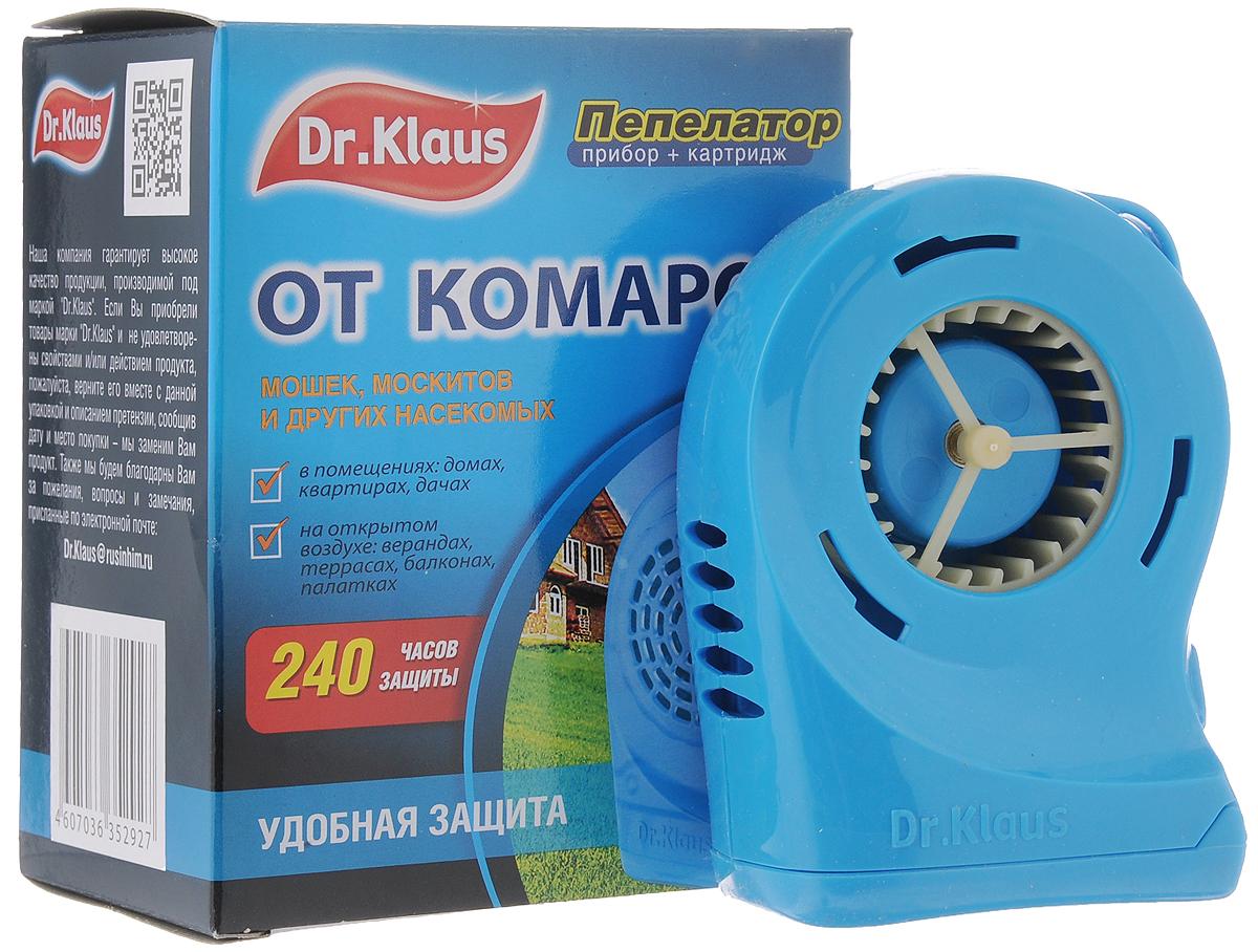 Пепелатор Dr.Klaus, прибор, кассета, 240 часов защиты66700902_36Пепелатор Dr.Klaus средство для защиты от комаров и других летающих насекомых (москитов, мошек, мокрецов) на открытом воздухе (в лесу, парках, у водоемов, на приусадебных участках в безветренную погоду) и в проветриваемых помещениях, автомобилях, палатках.Во время использования пепелатора на открытом воздухе размещать его с наветренной стороны на расстоянии не более 1-2 м или прикрепить его с помощью клипсы к ремню, к одежде. Картридж рассчитан на 240 часов после использования первого комплекта устанавливают второй. Замена картриджа осуществляется после использования 4 шт. батареек.240 часов защиты.После применения прибор и картридж необходимо хранить в герметичной упаковке или полиэтиленовом пакете до последующего использования.Комплектация:Пепелатор.Картридж.Инструкция.Состав: флайтрин (трансфлутрин технический) 30%, технологические добавки.Товар сертифицирован.
